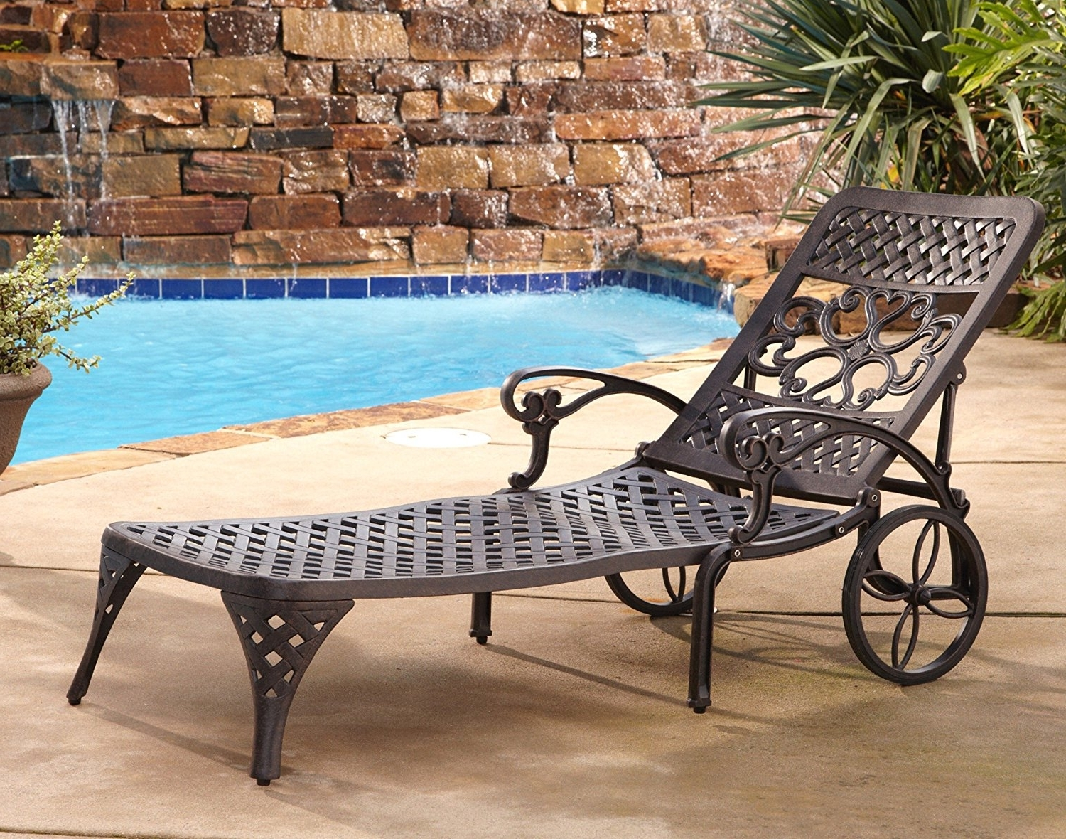 Most Popular Chaise Lounge Chairs At Sears Intended For Amazon : Home Styles Biscayne Chaise Lounge Chair, Bronze (View 12 of 15)