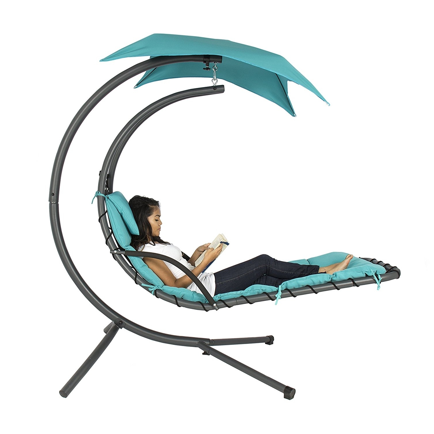 Most Popular Chaise Lounge Swing Chairs For Amazon: Best Choice Products Hanging Chaise Lounger Chair Arc (View 9 of 15)