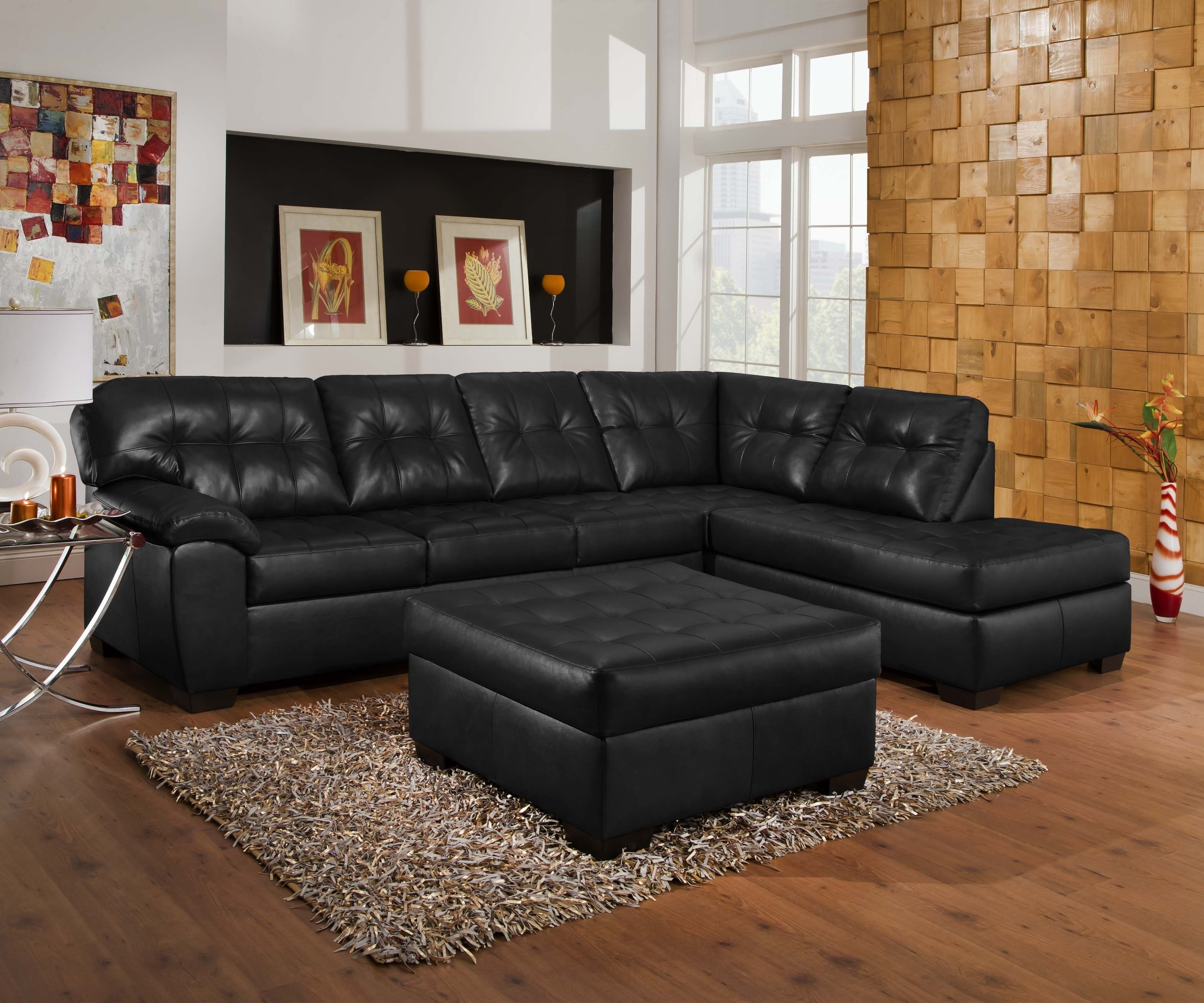 Most Popular Cheap Black Sofas Regarding Black Leather Contemporary Sectional Black And White Leather Sofa (View 10 of 15)