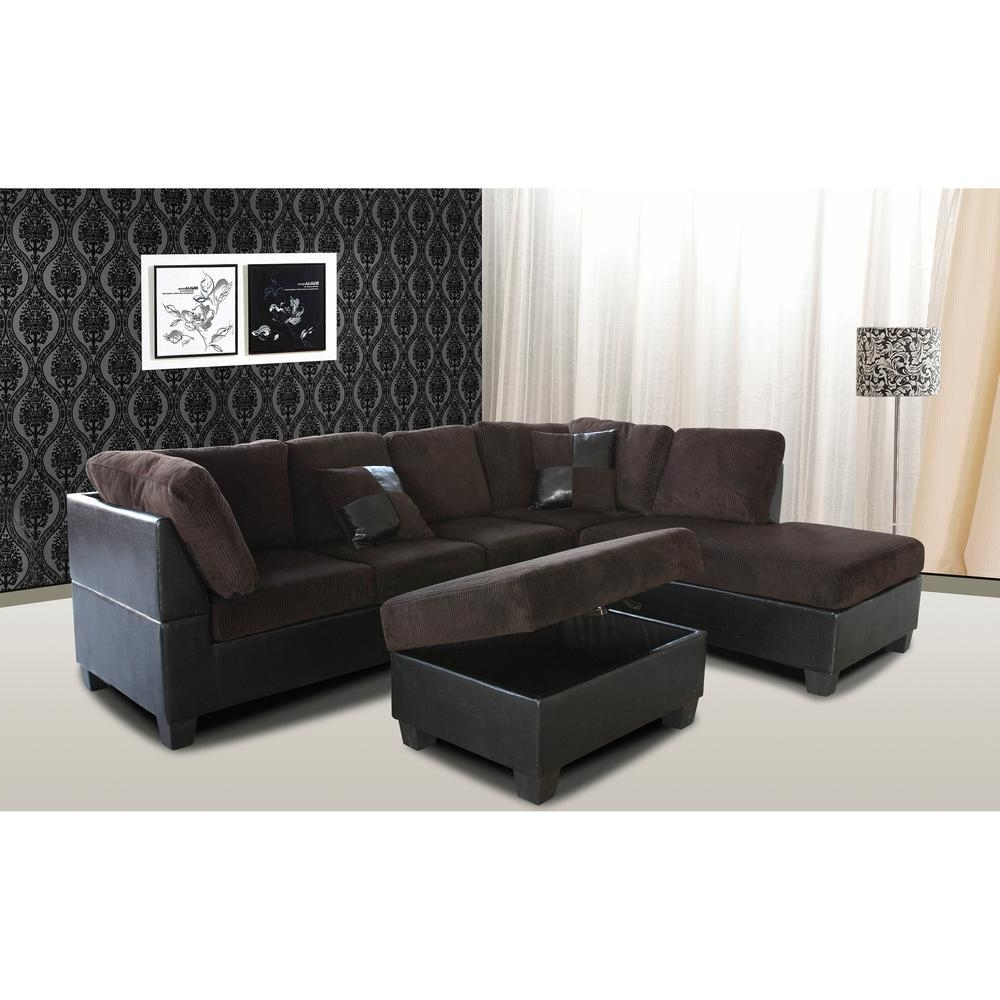 Most Popular Chocolate Sectional Sofas For Venetian Worldwide Taylor 2 Piece Chocolate Brown Corduroy (View 14 of 15)