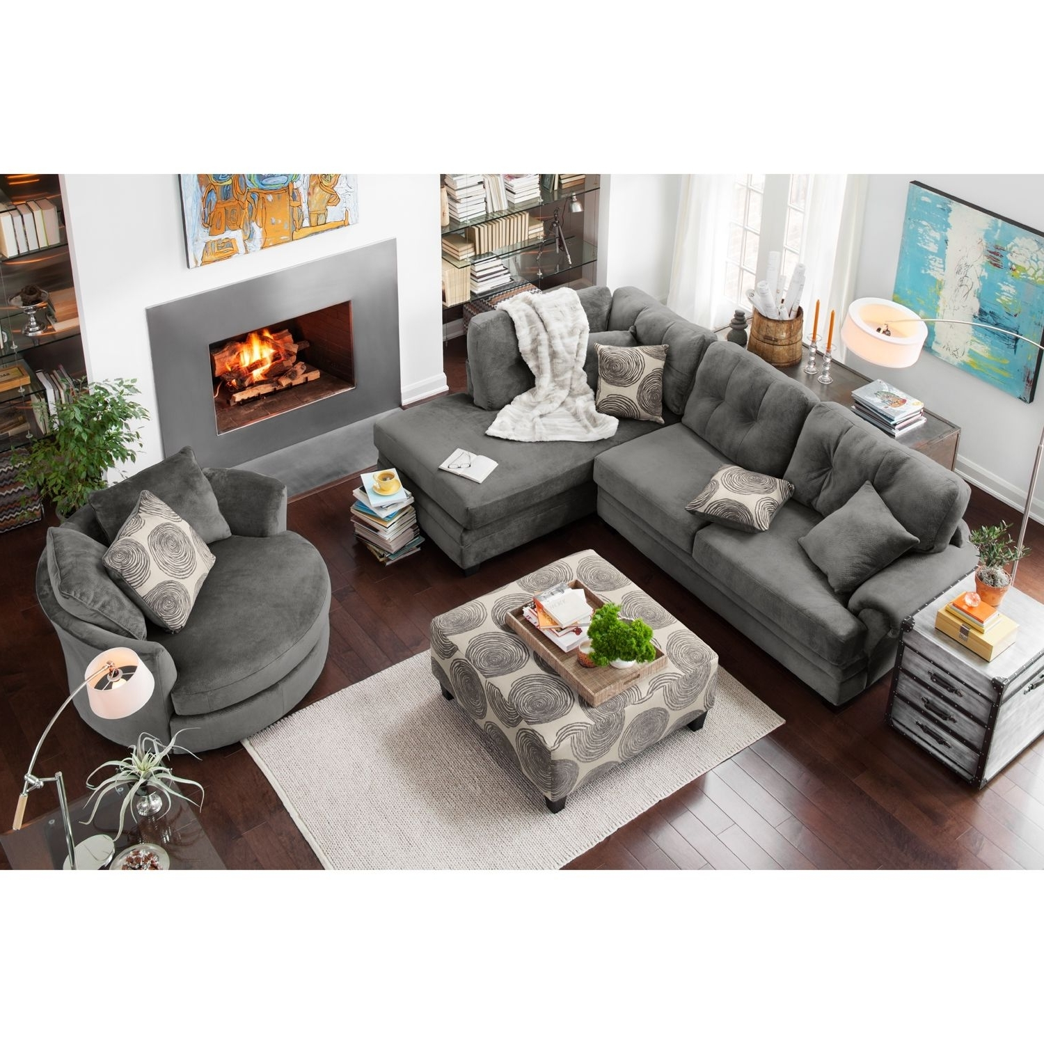 Most Popular Cordelle 2 Piece Right Facing Chaise Sectional – Gray (View 7 of 15)