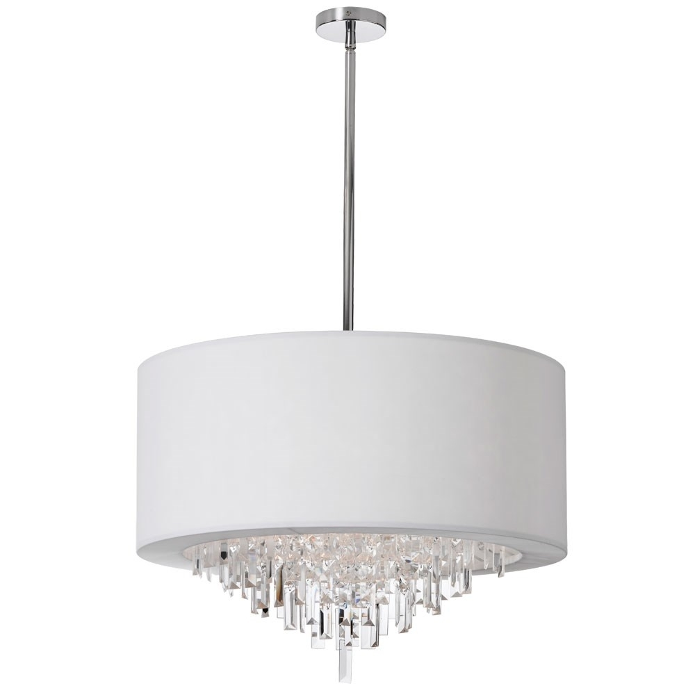 Most Popular Crystal Chandeliers With Shades With Dainolite Jas 258C Pc Jasmine 8 Light Crystal Chandelier In Polished (View 12 of 15)