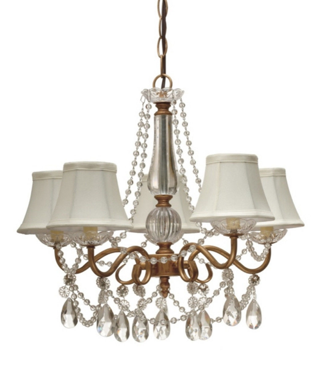 Most Popular Crystal Gold Chandeliers In Gold Arm & Crystals Chandelier 5 Silk Shades (View 11 of 15)