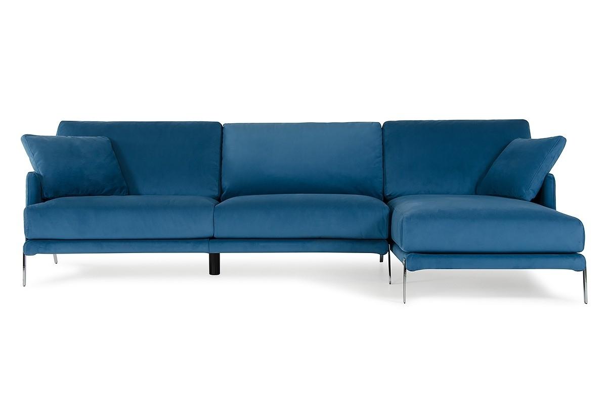 Most Popular David Ferrari Achen Modern Blue Velvet Fabric Sectional Sofa Regarding Velvet Sectional Sofas With Chaise (View 9 of 15)
