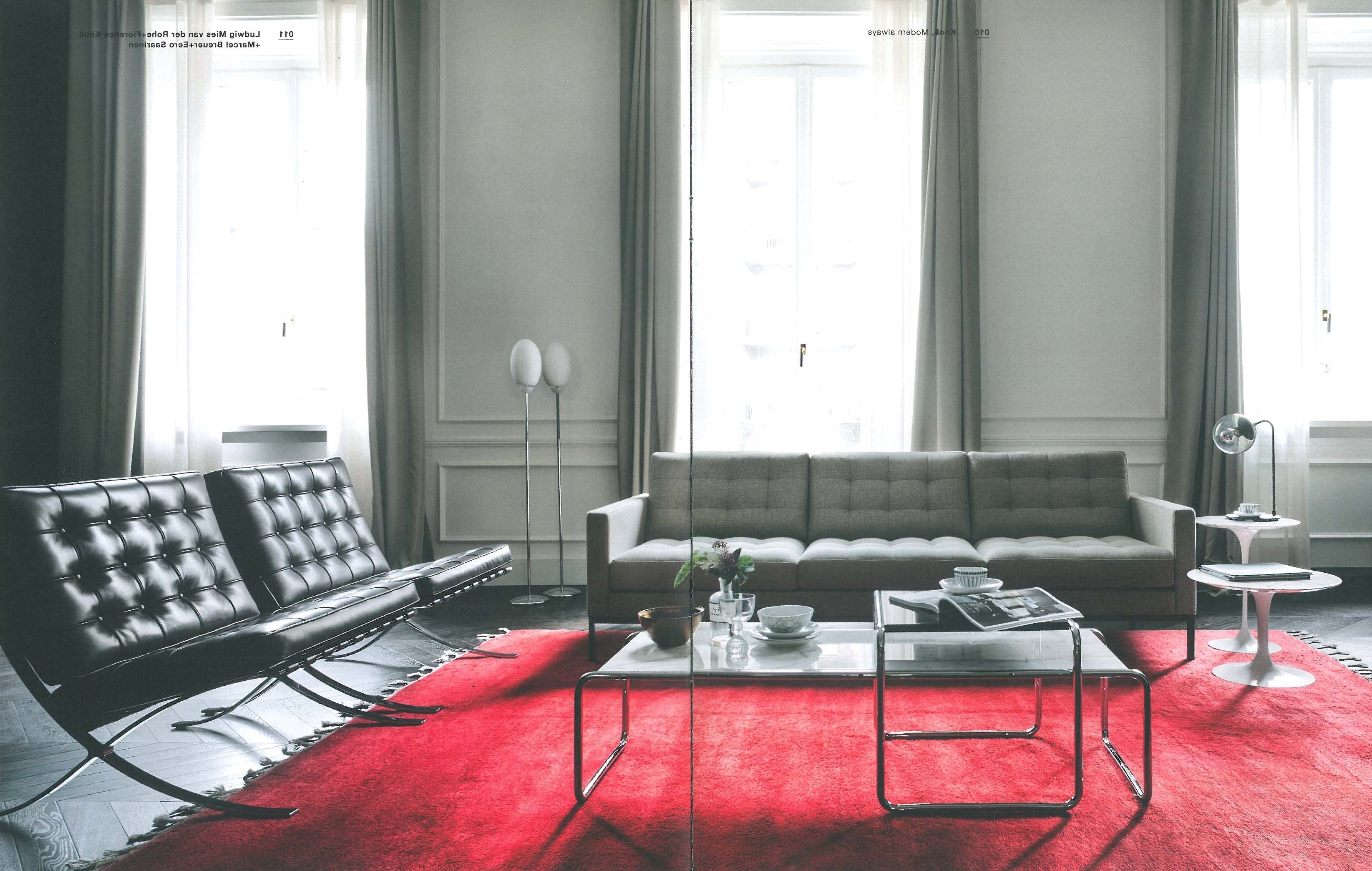 Most Popular Florence Knoll Sofa + Barcelona Chairs + Tulip Side Tables + Inside Florence Knoll Living Room Sofas (View 12 of 15)