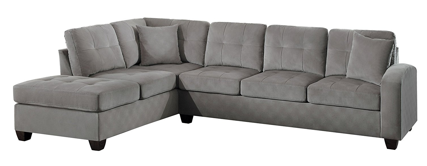 Most Popular Grey Sofas With Chaise For Amazon: Homelegance Sectional Sofa Polyester With Reversible (View 9 of 15)