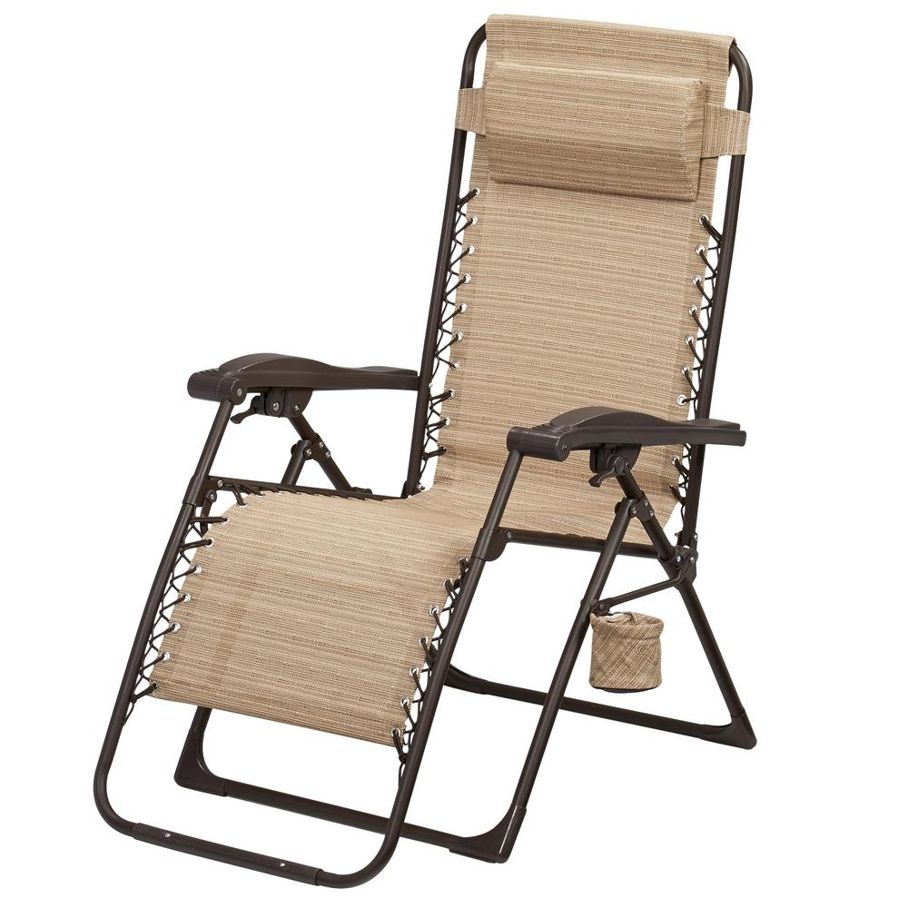 Most Popular Hampton Bay Mix And Match Zero Gravity Sling Outdoor Chaise Lounge Intended For Folding Chaise Lounge Chairs For Outdoor (View 4 of 15)
