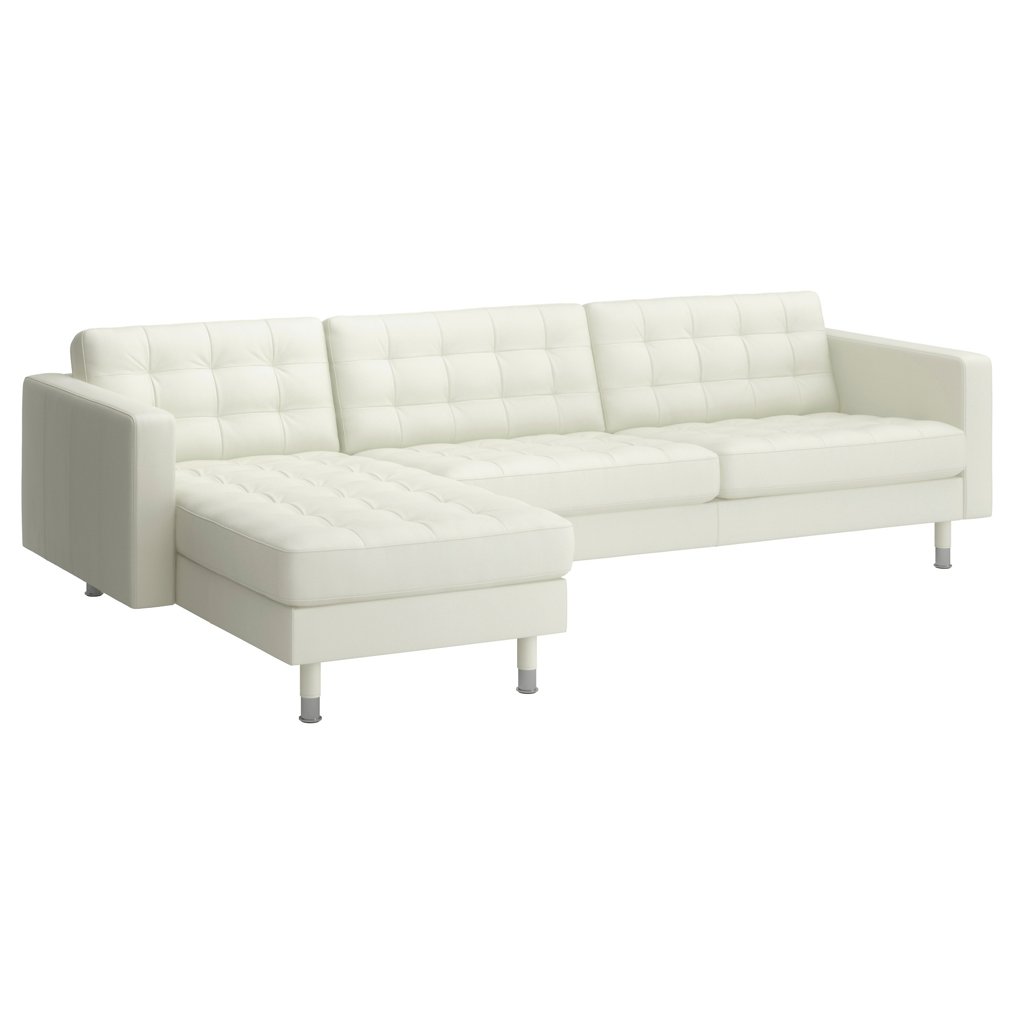 Most Popular Landskrona Sectional, 4 Seat – Grann/bomstad White, Metal – Ikea For White Leather Chaises (View 9 of 15)