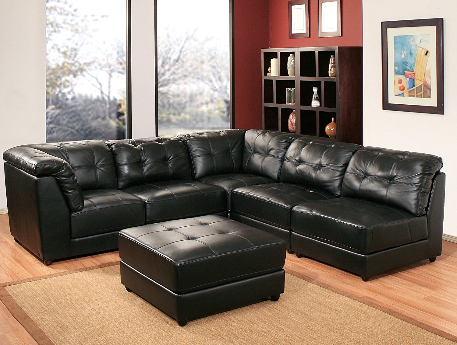 Most Popular Leather Modular Sectional Sofas Throughout Amazon: Abbyson Donovan 5 Piece Modular Leather Sectional Sofa (View 1 of 15)