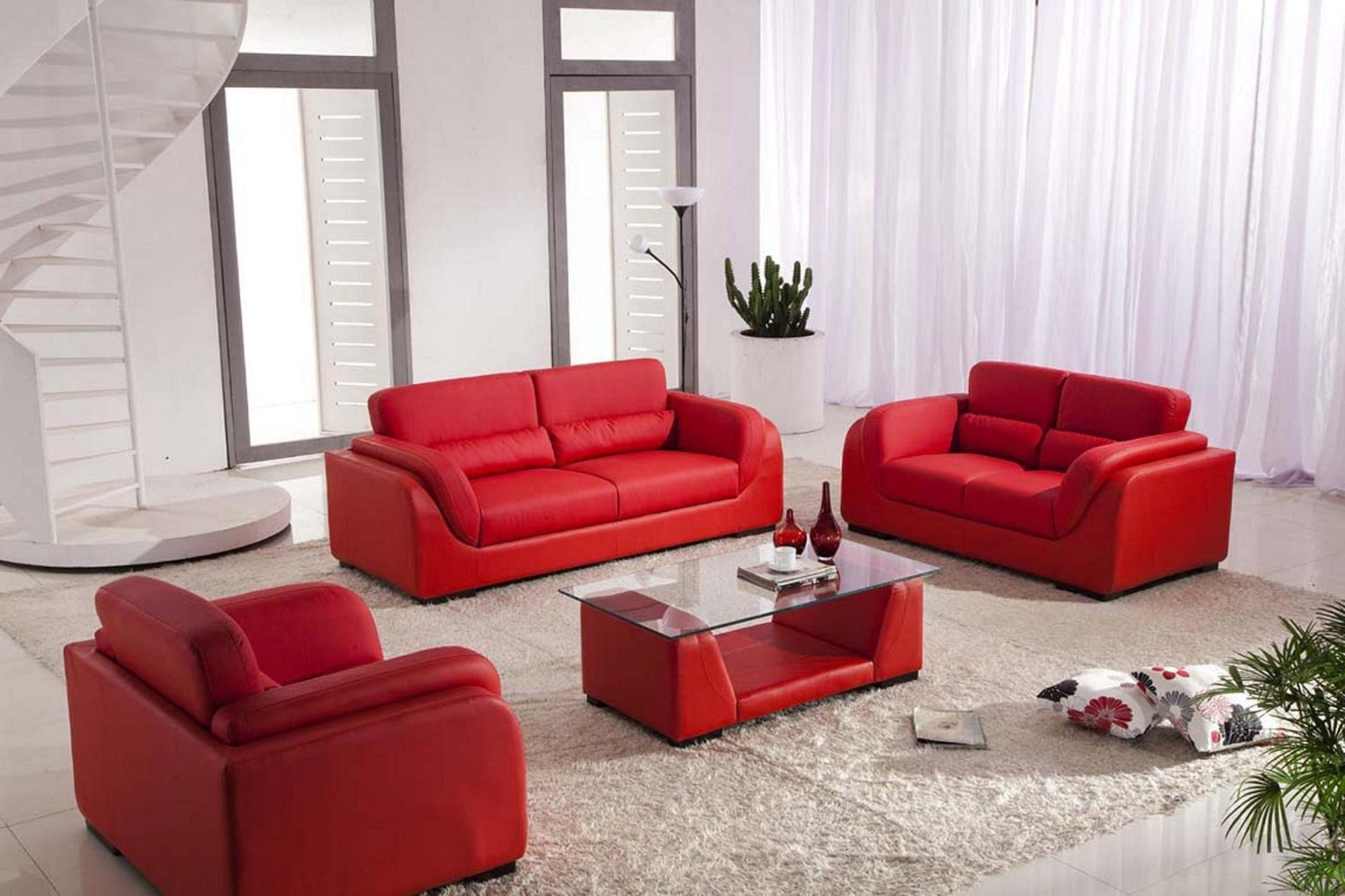 Most Popular Living Room Attractive Ideas With Red Leather Sofa And Glass Table Regarding Red Leather Couches For Living Room (View 6 of 15)
