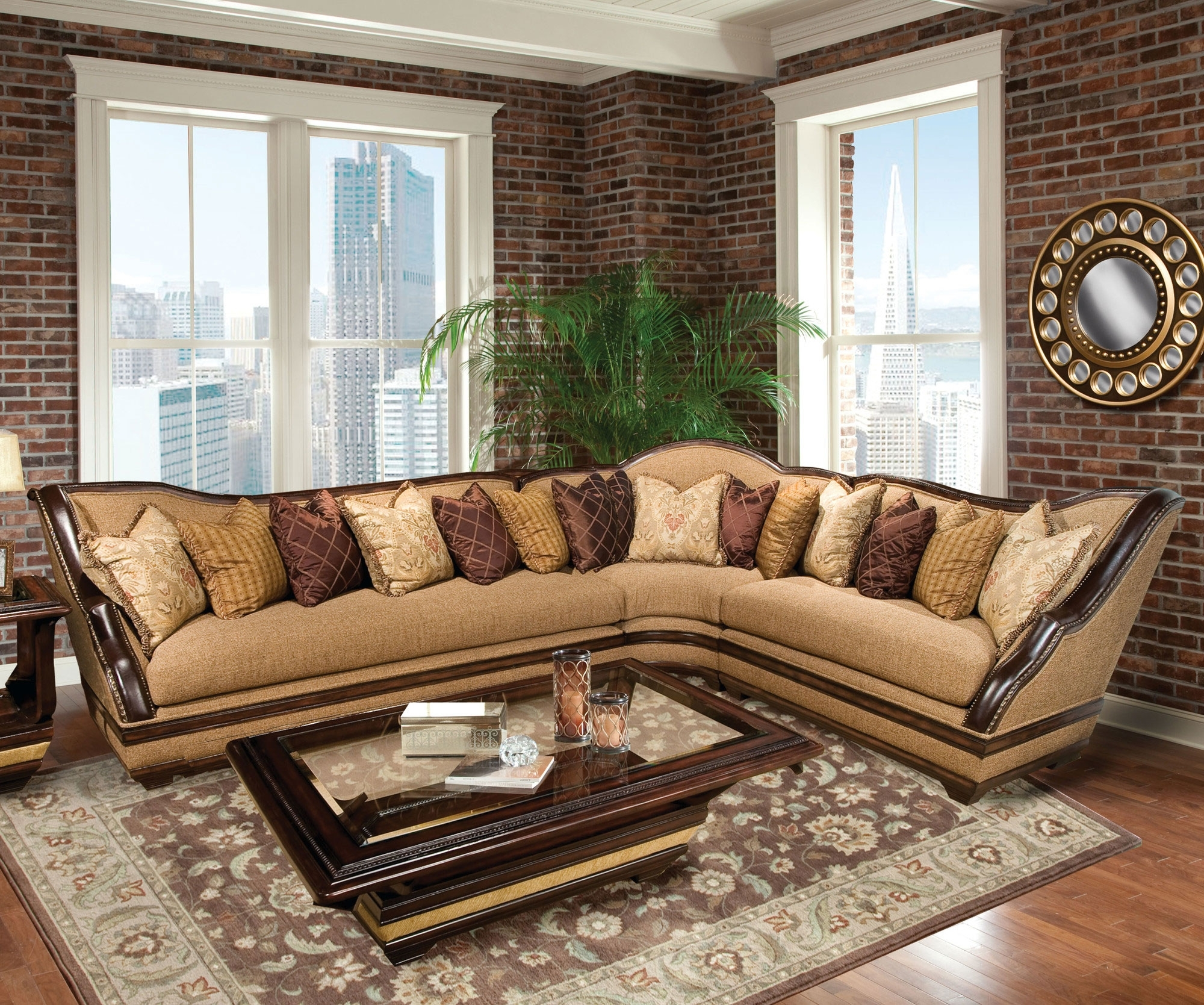 Most Popular Luxury Sectional Sofas With Regard To Benetti's Italia Beladonna Wood Trim Sectional Sofa Set The (View 11 of 15)