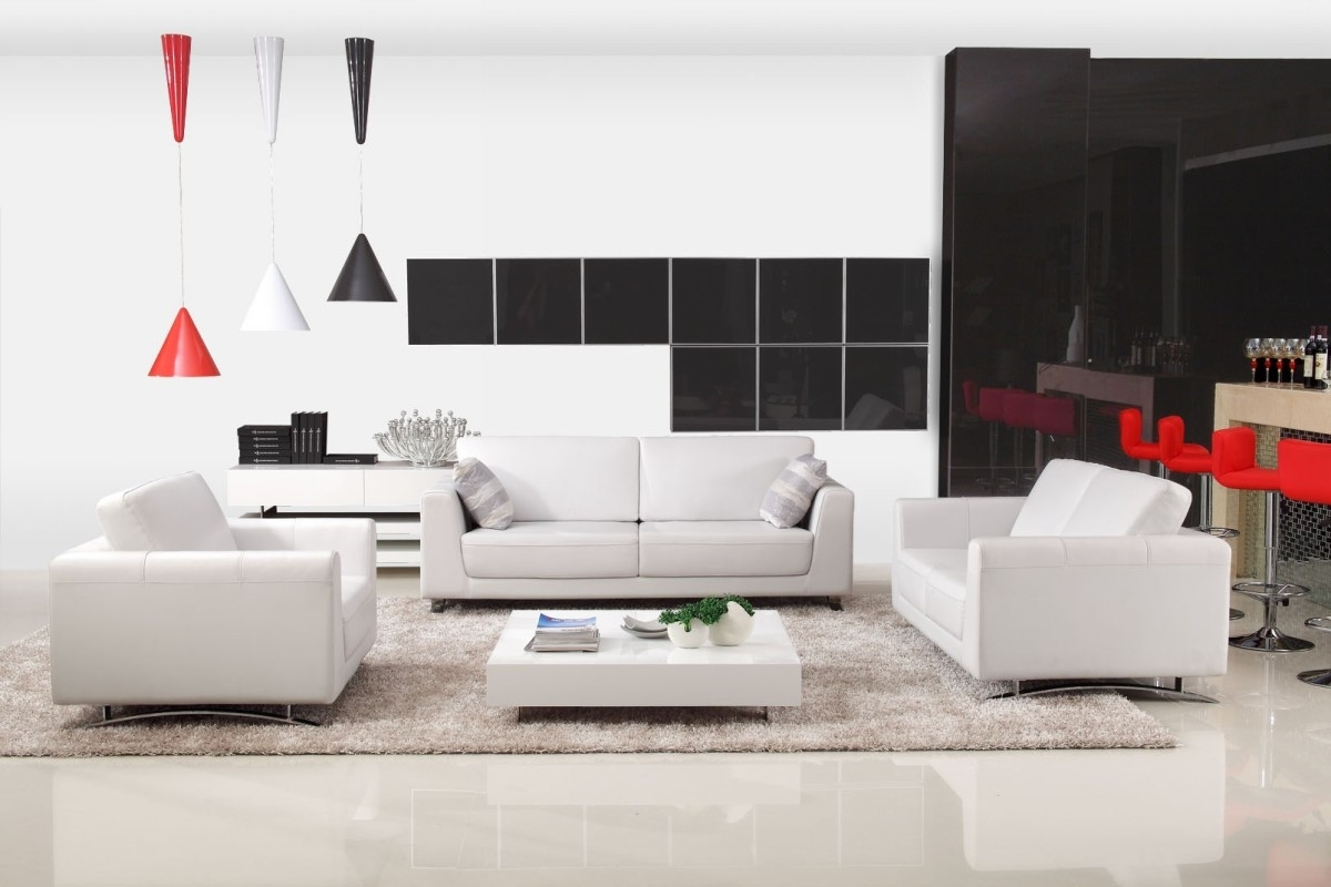 Most Popular Modern Off White Leather Sofa Set Inside Off White Leather Sofas (View 7 of 15)