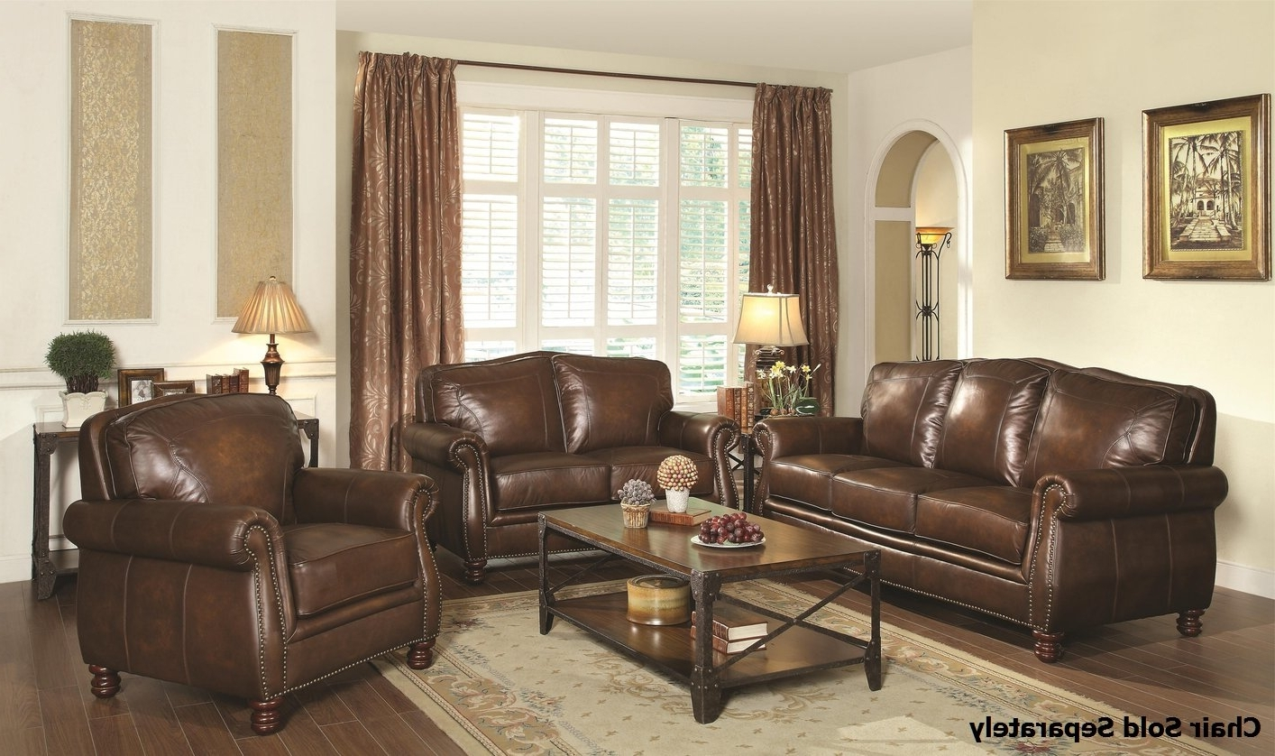 Most Popular Montbrook Brown Leather Sofa And Loveseat Set – Steal A Sofa Regarding Brown Sofa Chairs (View 8 of 15)