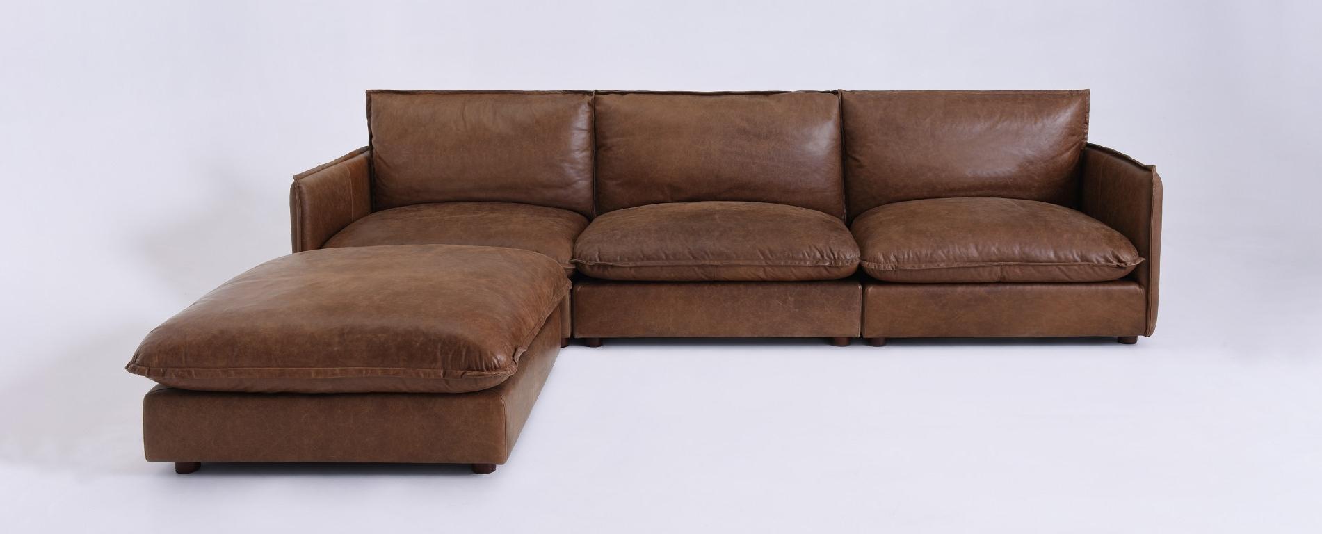Most Popular Neva Modular Leather Chaise Sectional In Leather Chaise Sectionals (View 7 of 15)