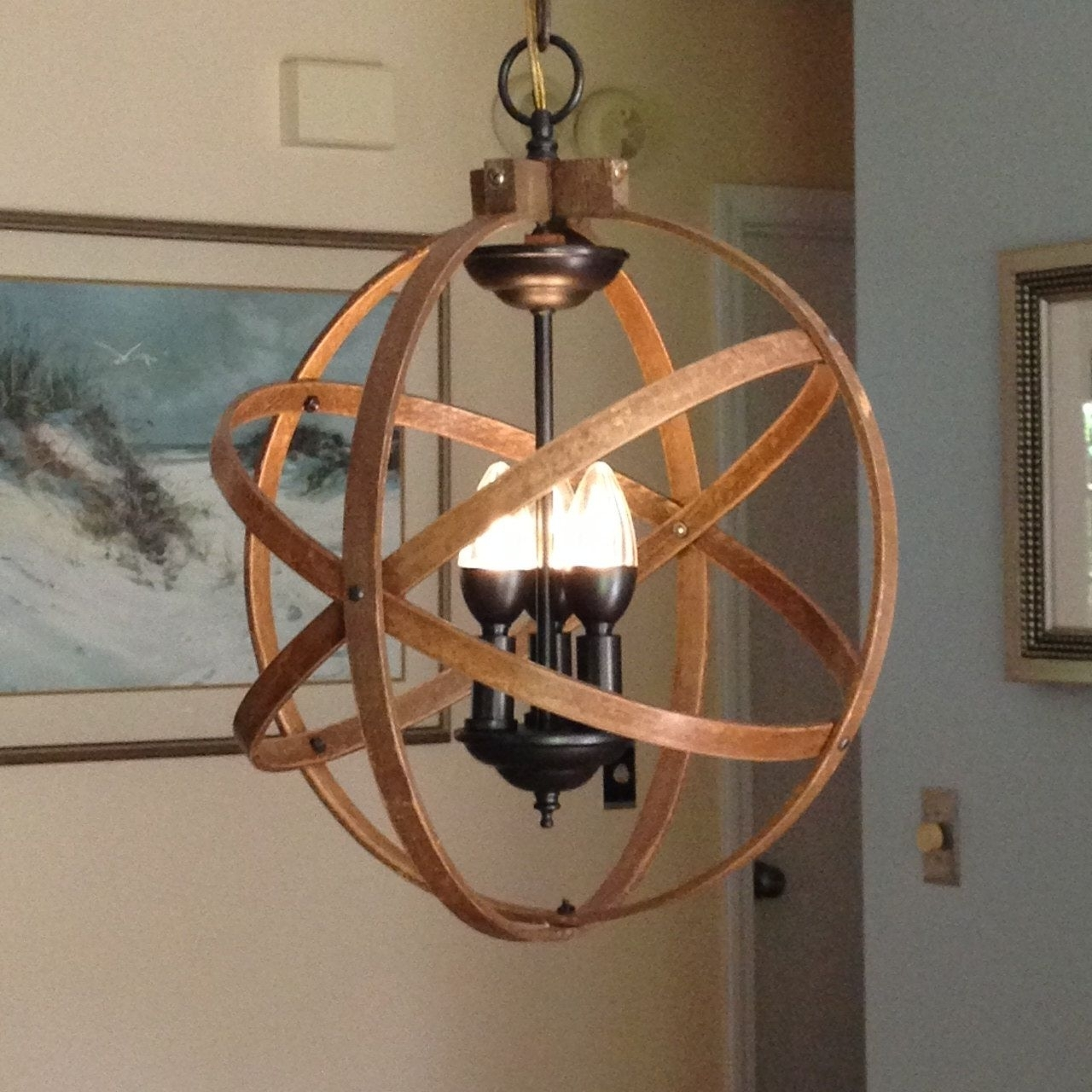 "Most Popular Orb Chandelier Light 14"" Atomic Light Fixture Industrial Lighting Pertaining To Atom Chandeliers (View 12 of 15)"