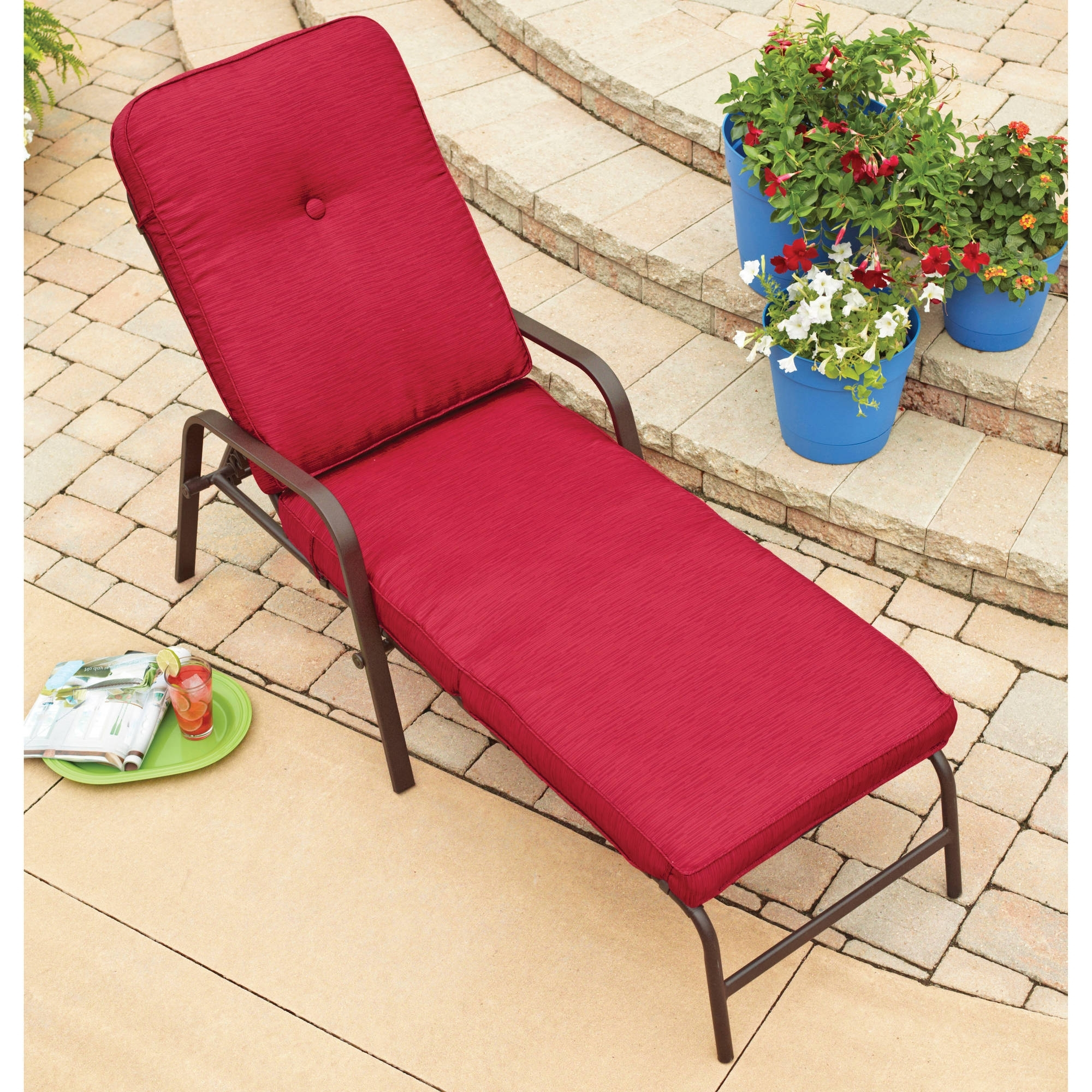 Most Popular Outdoor Chaise Lounge Chairs At Walmart Inside Alluring Patio Chaise Lounge Walmart On Red Outdoor Lounge Chairs (View 5 of 15)