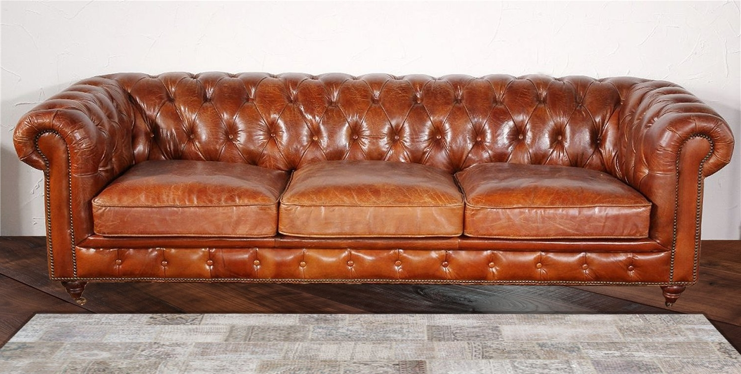 Most Popular Pasargad Chester Bay Tufted Genuine Leather Chesterfield Sofa inside Leather Chesterfield Sofas