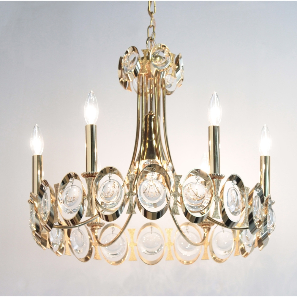 Most Popular Pawla Elegant Brass And Crystal Chandelier 1960S — Lobel Modern Nyc Regarding Brass And Crystal Chandelier (View 11 of 15)