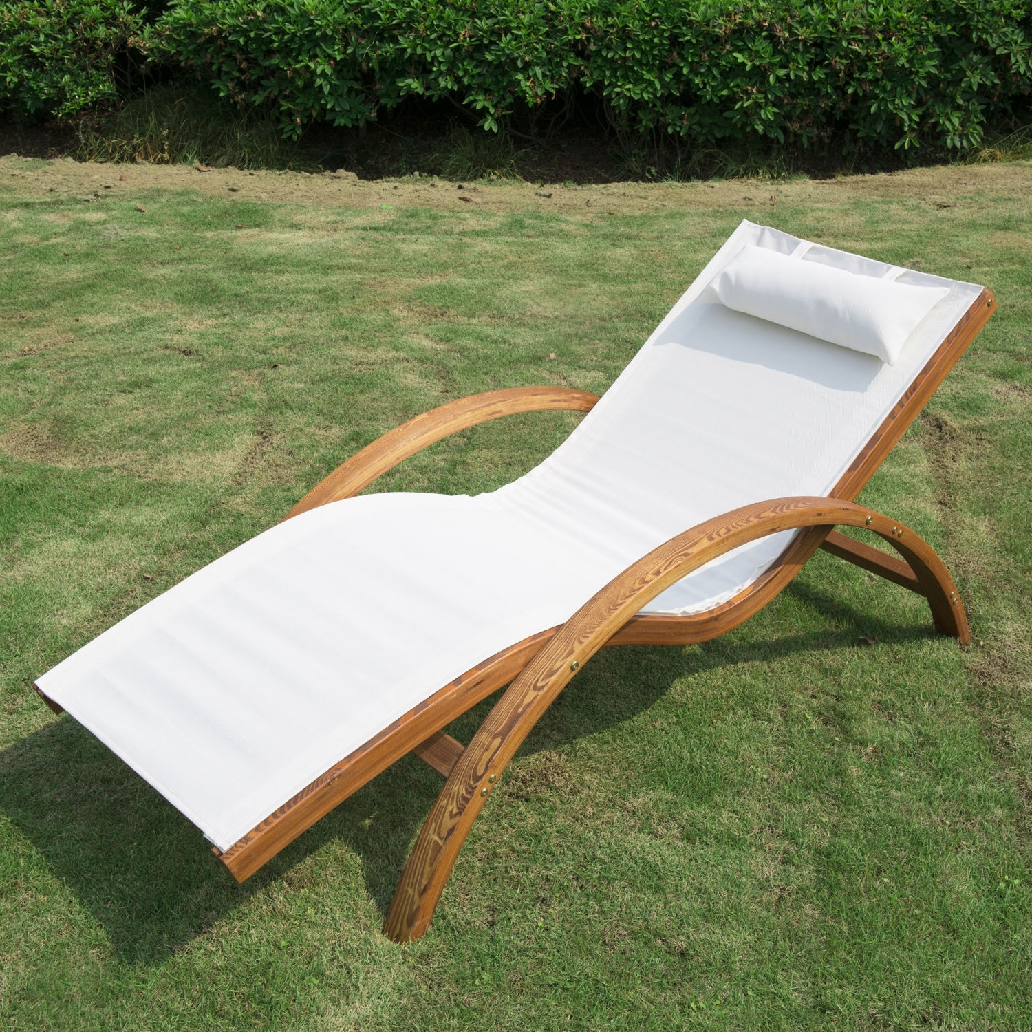 Most Popular Pool Chaise Lounges Within Wooden Patio Chaise Lounge Chair Outdoor Furniture Pool Garden (View 6 of 15)