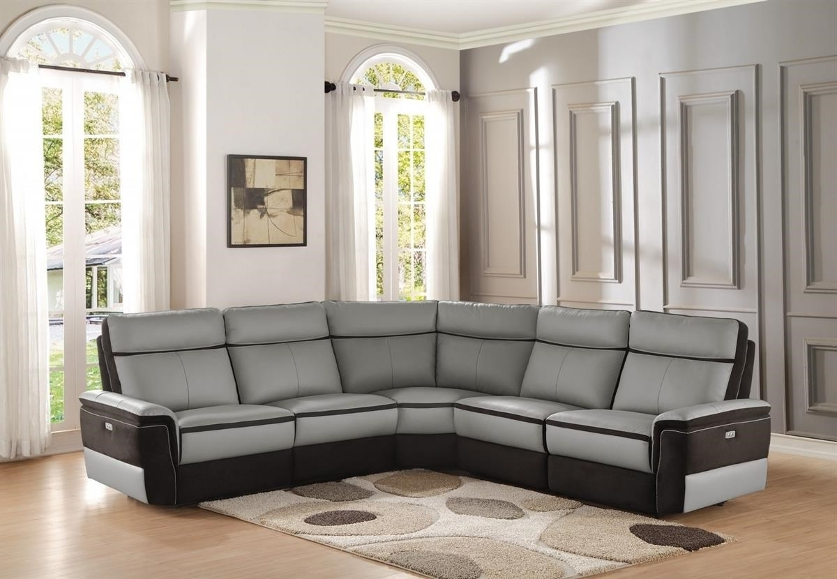 Most Popular Reclining Sectional Sofas With Homelegance Laertes Power Reclining Sectional (View 6 of 15)