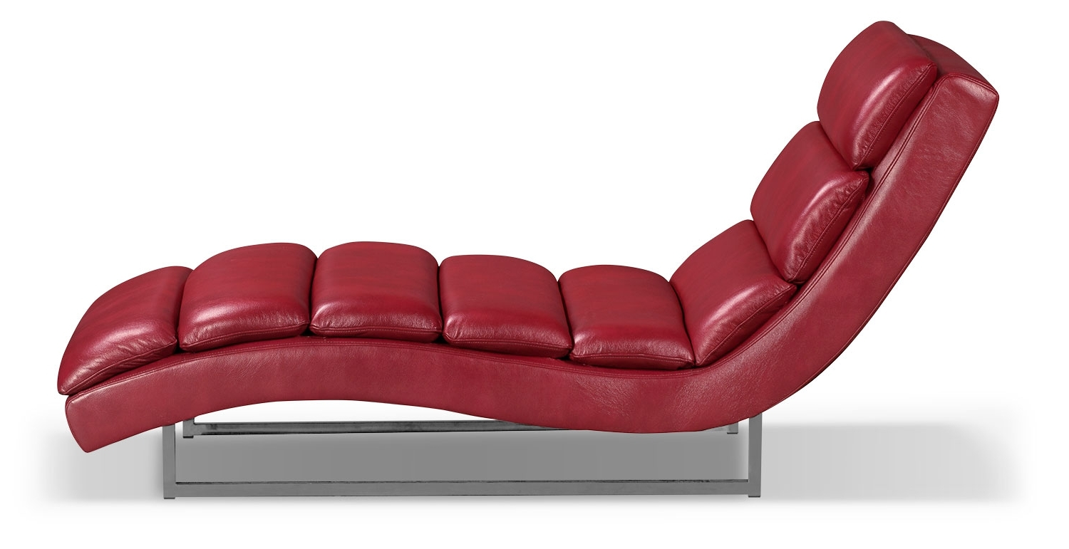 Most Popular Red Leather Chaises With Regard To Maddy Leather Look Fabric Chaise – Red (View 5 of 15)