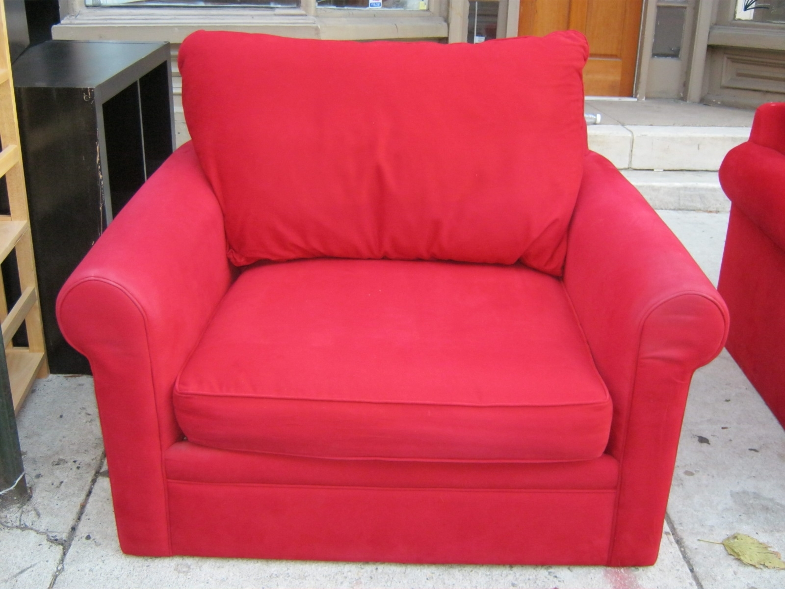 Most Popular Red Sofa Chairs Regarding Uhuru Furniture & Collectibles: Red Sofa Chair And Ottoman Set Sold (View 5 of 15)