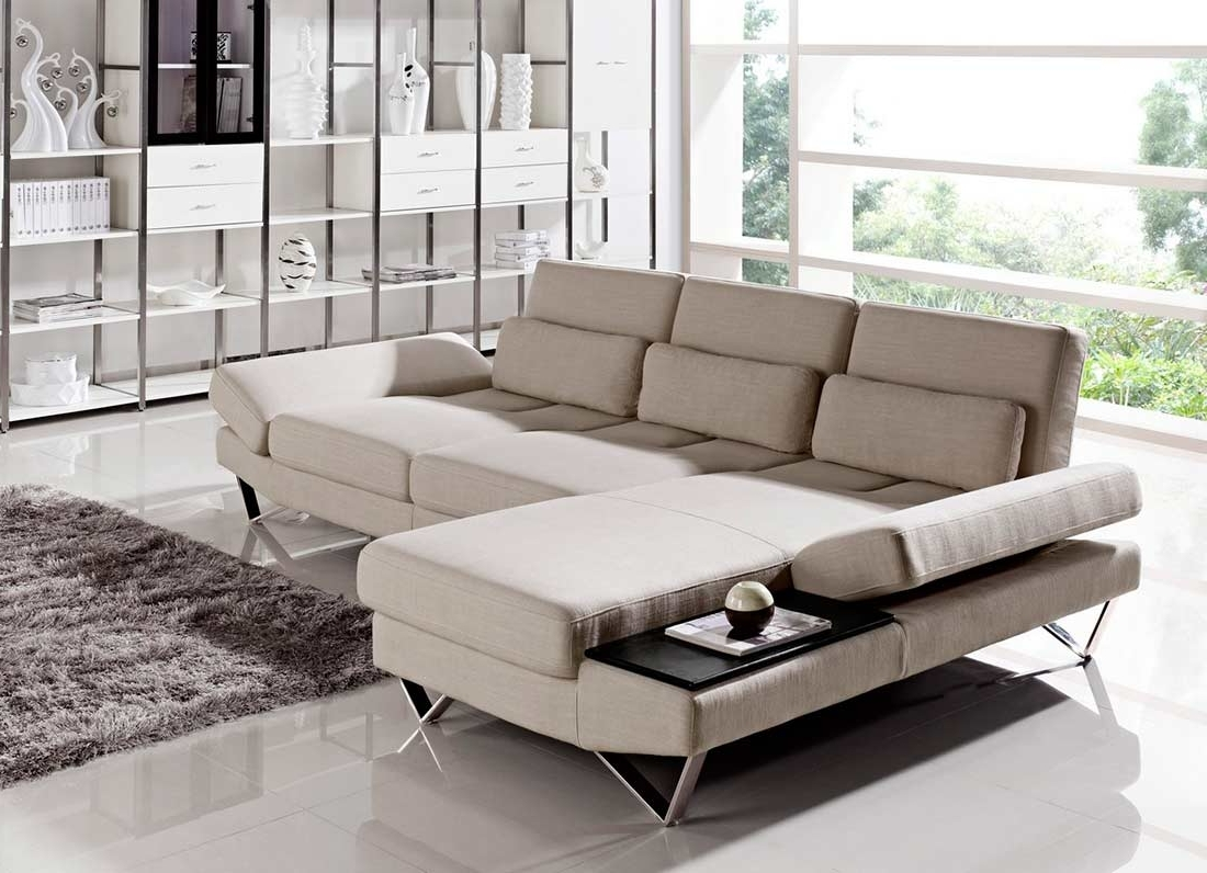 Most Popular Salt Lake City Sectional Sofas In Soft Fabric Sectional Sofa With Built In End Table Vg (View 7 of 15)