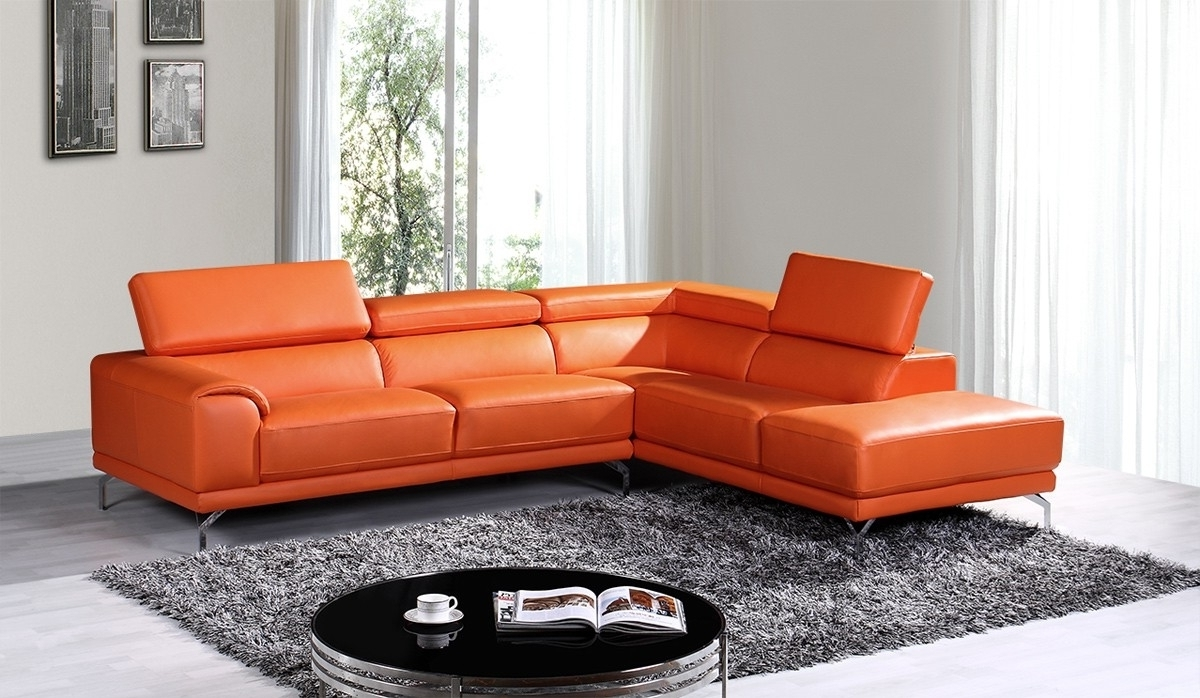 Most Popular Stylish Orange Leather Sectional Sofa – Mediasupload Throughout Orange Sectional Sofas (View 5 of 15)