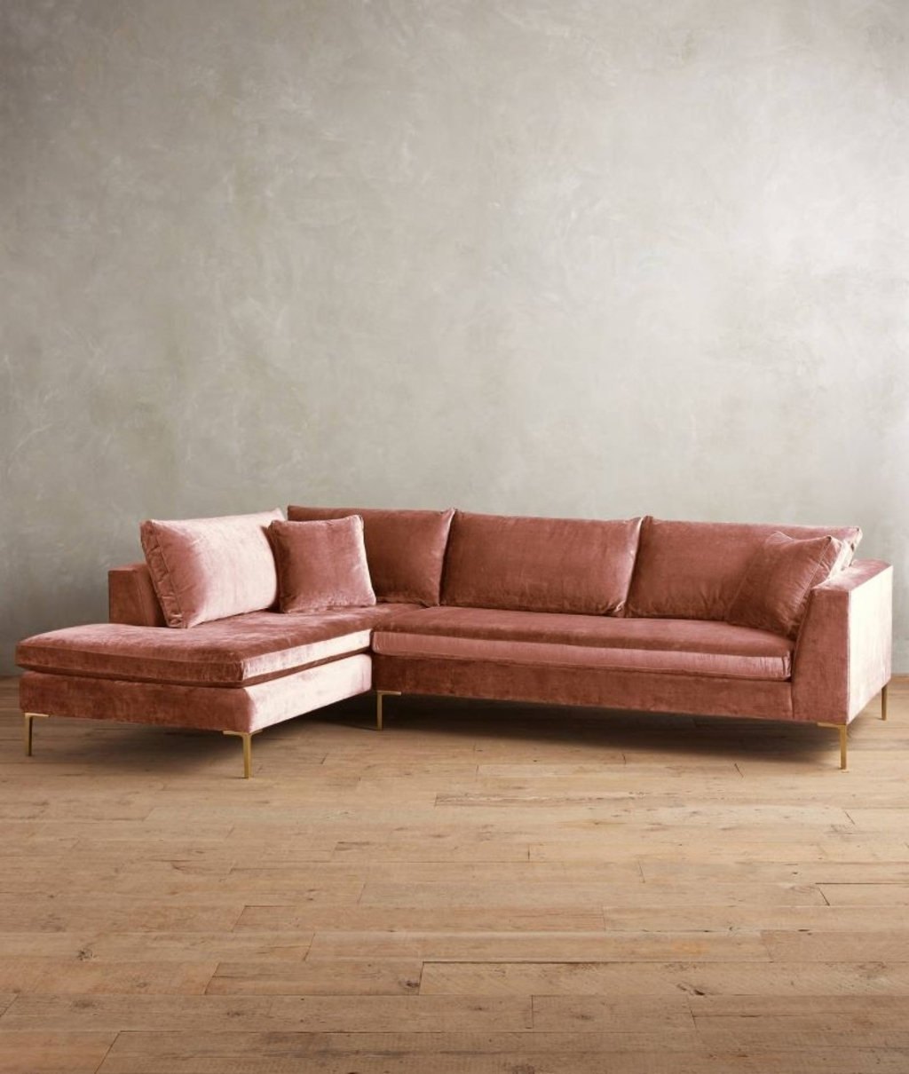 Most Popular Velvet Sectional Sofas For Furniture: Velvet Sectional Sofa From Anthropologie – 20 Modular (View 9 of 15)