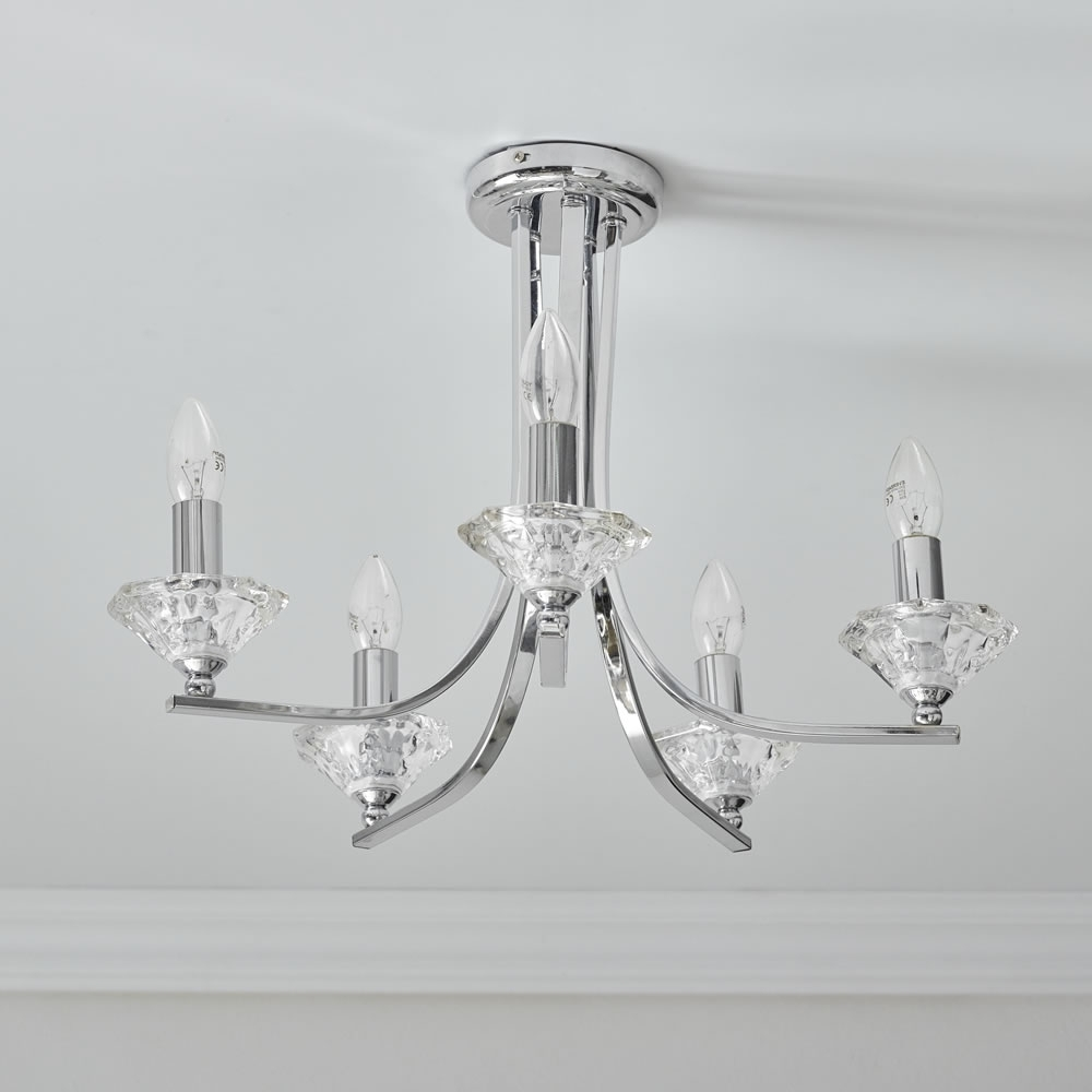 Most Popular Wilko 5 Arm Chandelier Chrome Effect Ceiling Lightfitting At Wilko Throughout Chandelier Chrome (View 4 of 15)