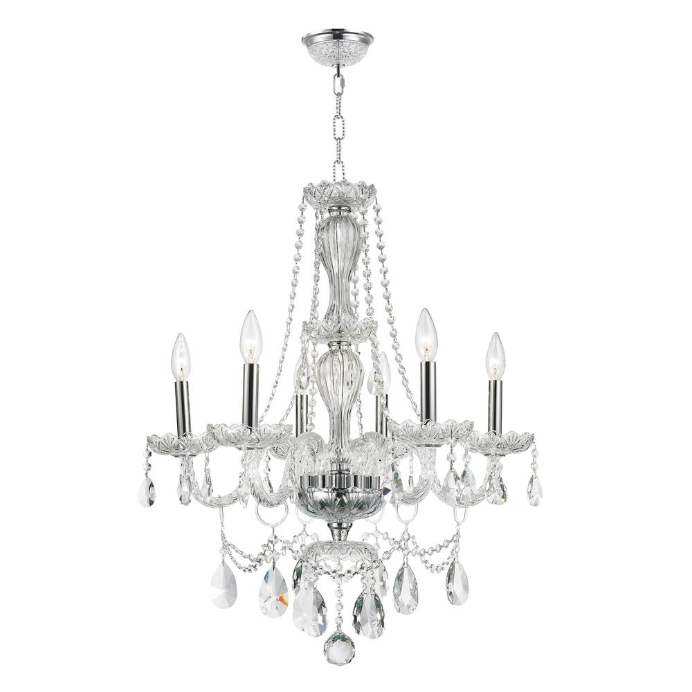 Most Popular Worldwide Lighting Provence Collection 6 Light Polished Chrome And For Crystal Chandeliers (View 13 of 15)