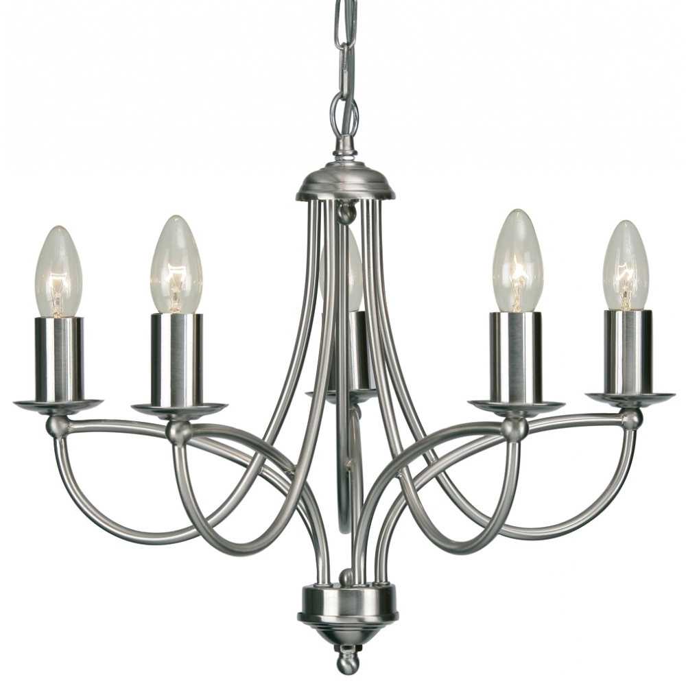 Most Recent 2711/5Ac Loop 5 Light Chandelier In Antique Chrome Regarding Chandelier Chrome (View 5 of 15)
