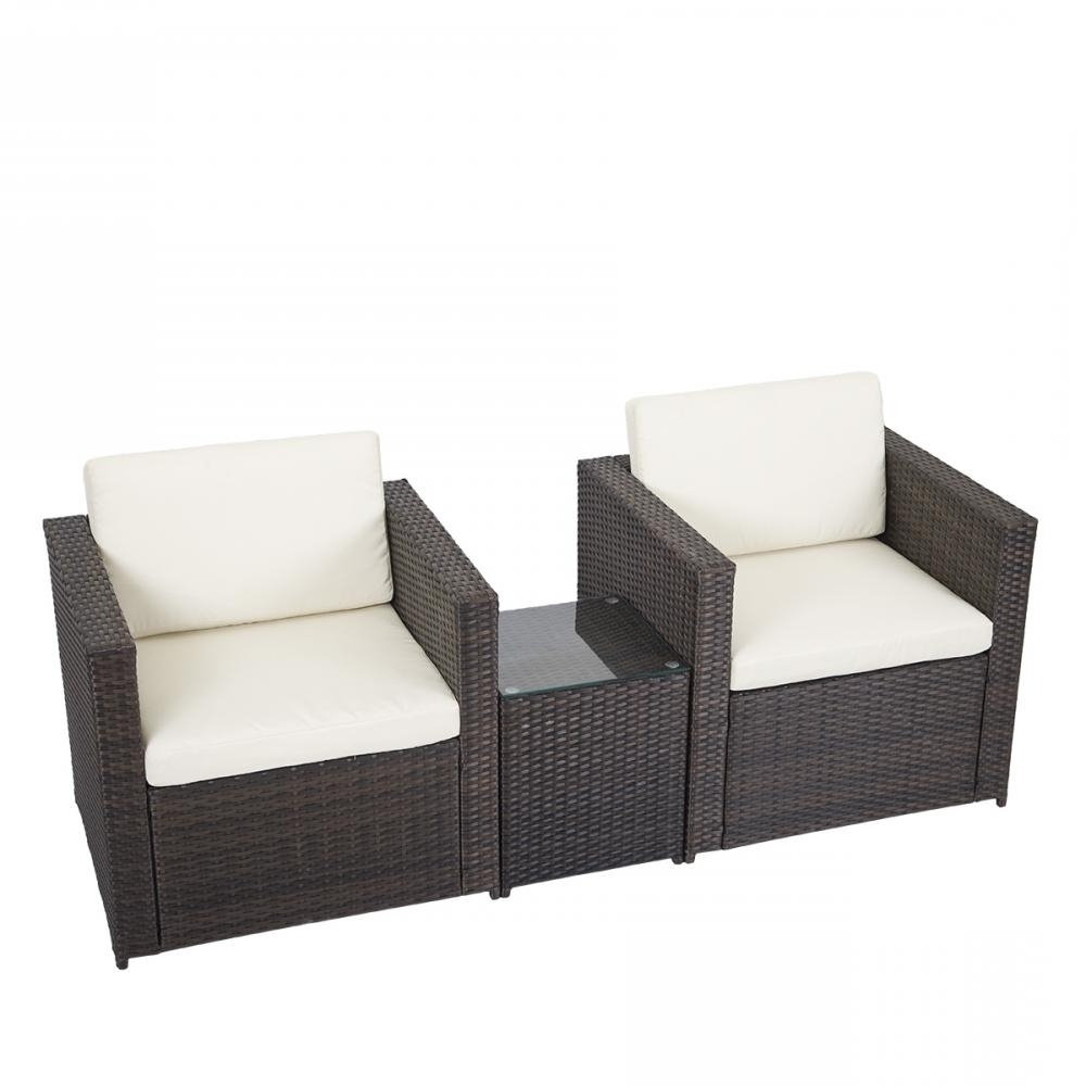Most Recent 3 Pcs Outdoor Patio Sofa Set Sectional Furniture Pe Wicker Rattan With Regard To Outdoor Sofa Chairs (View 2 of 15)