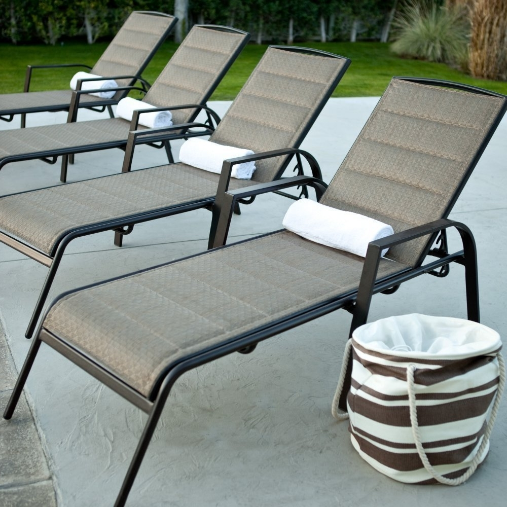 Most Recent Amazon : Coral Coast Coral Coast Del Rey Padded Sling Chaise With Outdoor Pool Furniture Chaise Lounges (View 5 of 15)