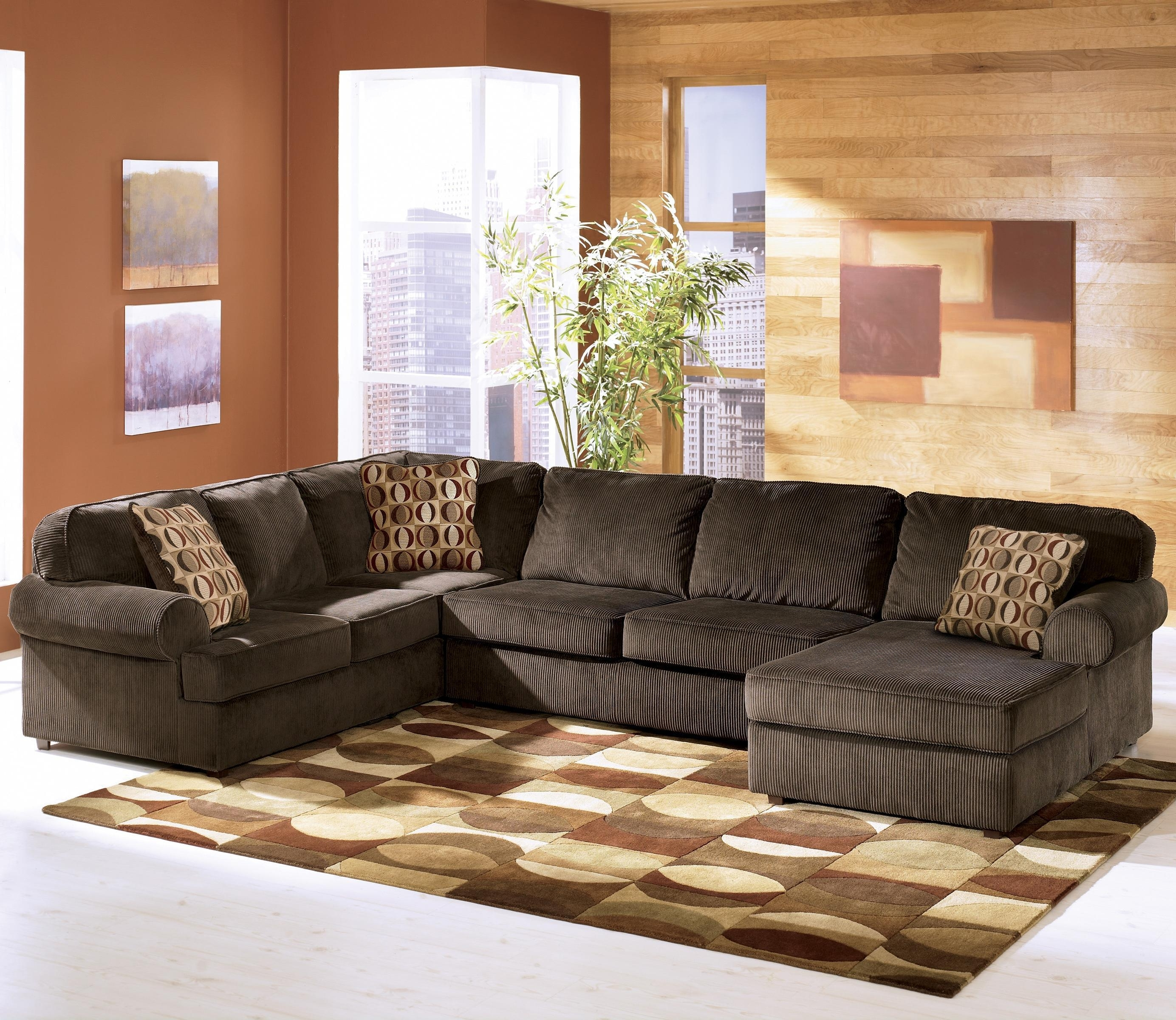 Most Recent Ashley Chaise Sofas Regarding Ashley Furniture Vista – Chocolate Casual 3 Piece Sectional With (View 8 of 15)