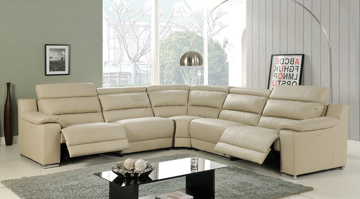 Most Recent Beige Sectional Sofas Throughout Elda Beige Italian Leather Sectional Sofaat Home (View 12 of 15)
