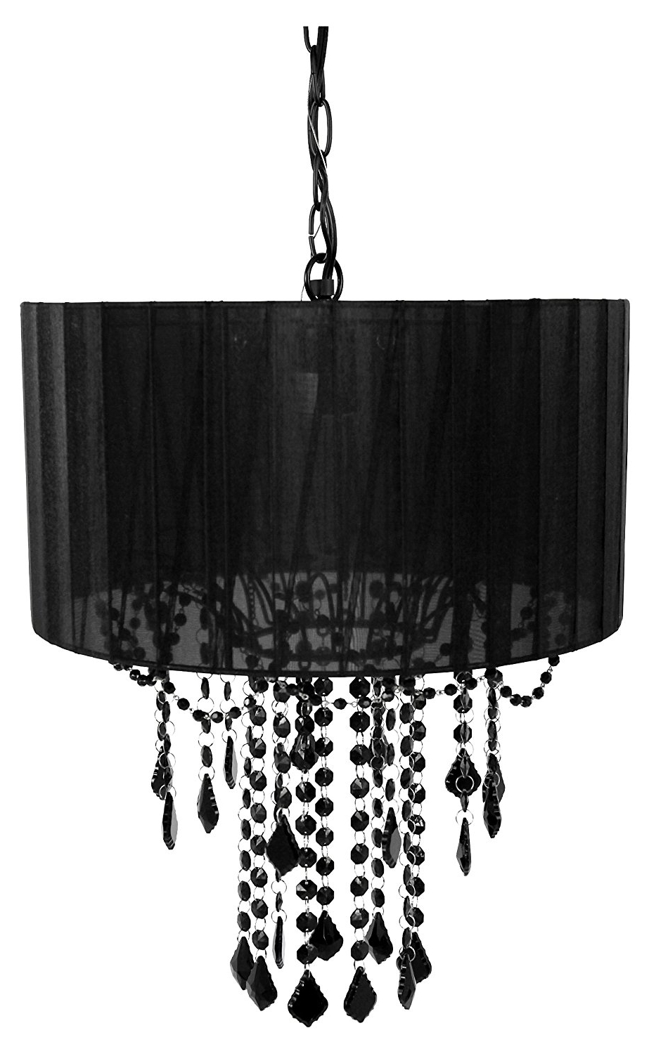 Most Recent Black Chandelier Inside Amazon: Tadpoles One Bulb Shaded Chandelier, Black: Baby (Gallery 4 of 15)