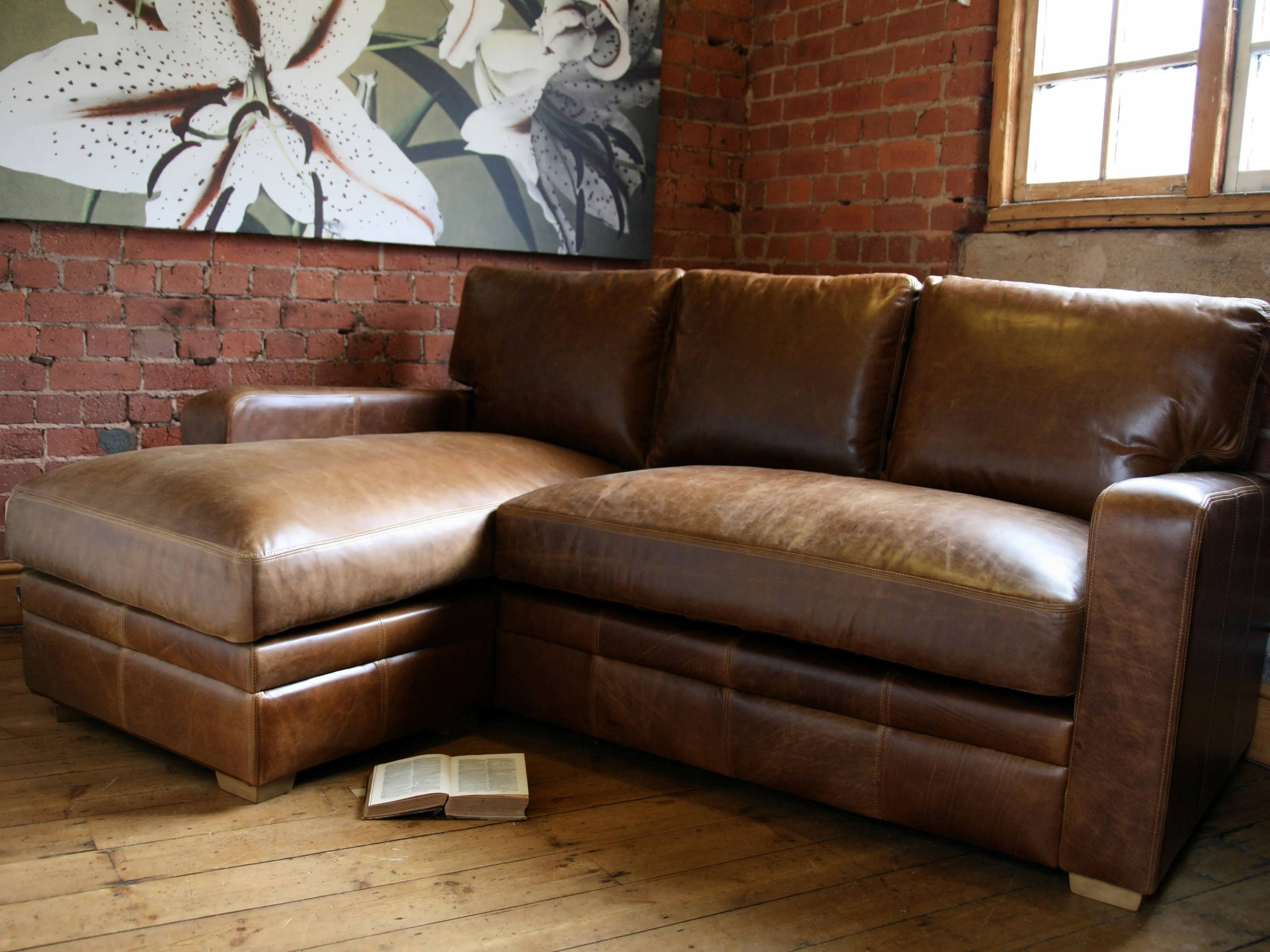 Most Recent Brown Leather Chaise Lounges Throughout Sofa : Brown Leather Sectional Red Sectional Sofa White Sectional (View 7 of 15)
