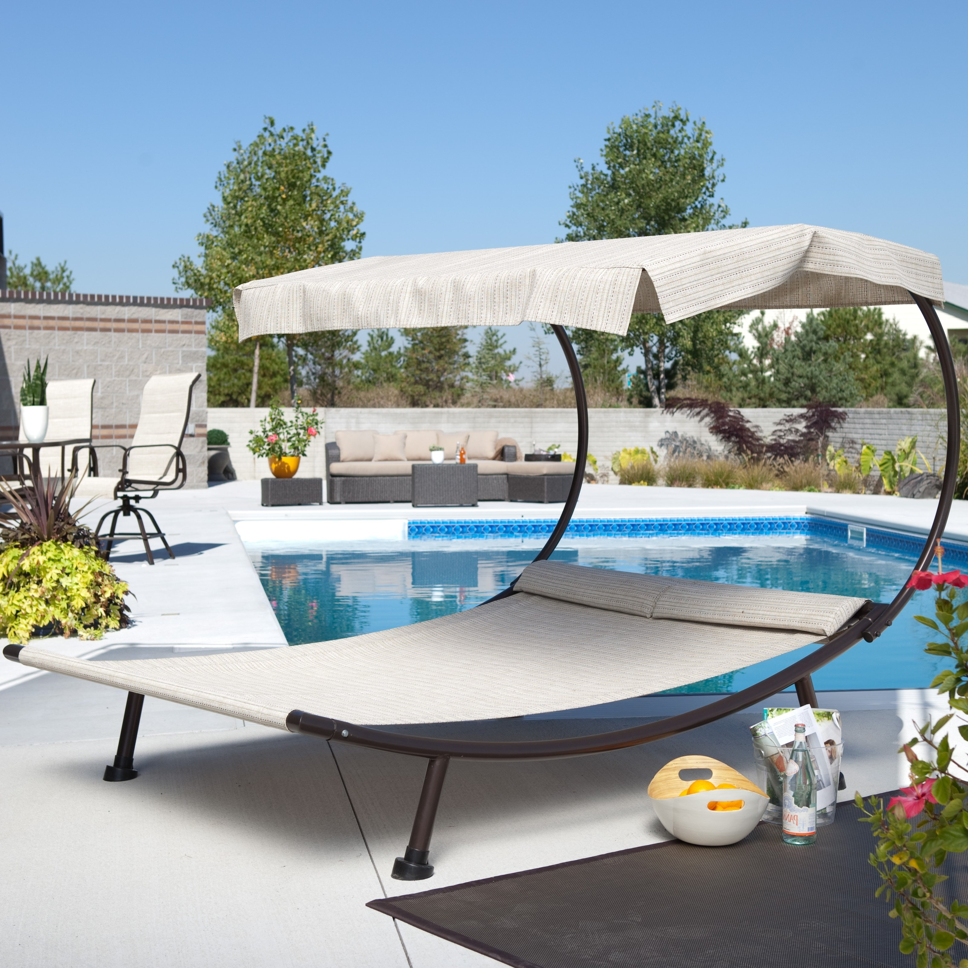 Most Recent Chaise Outdoor Lounge Chairs Throughout Coral Coast Del Rey Double Chaise Lounge With Canopy (View 13 of 15)