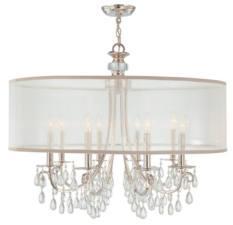 Most Recent Chandelier With Shades And Crystals In Chandeliers Design : Magnificent Crystal Chandelier With Black Drum (View 12 of 15)