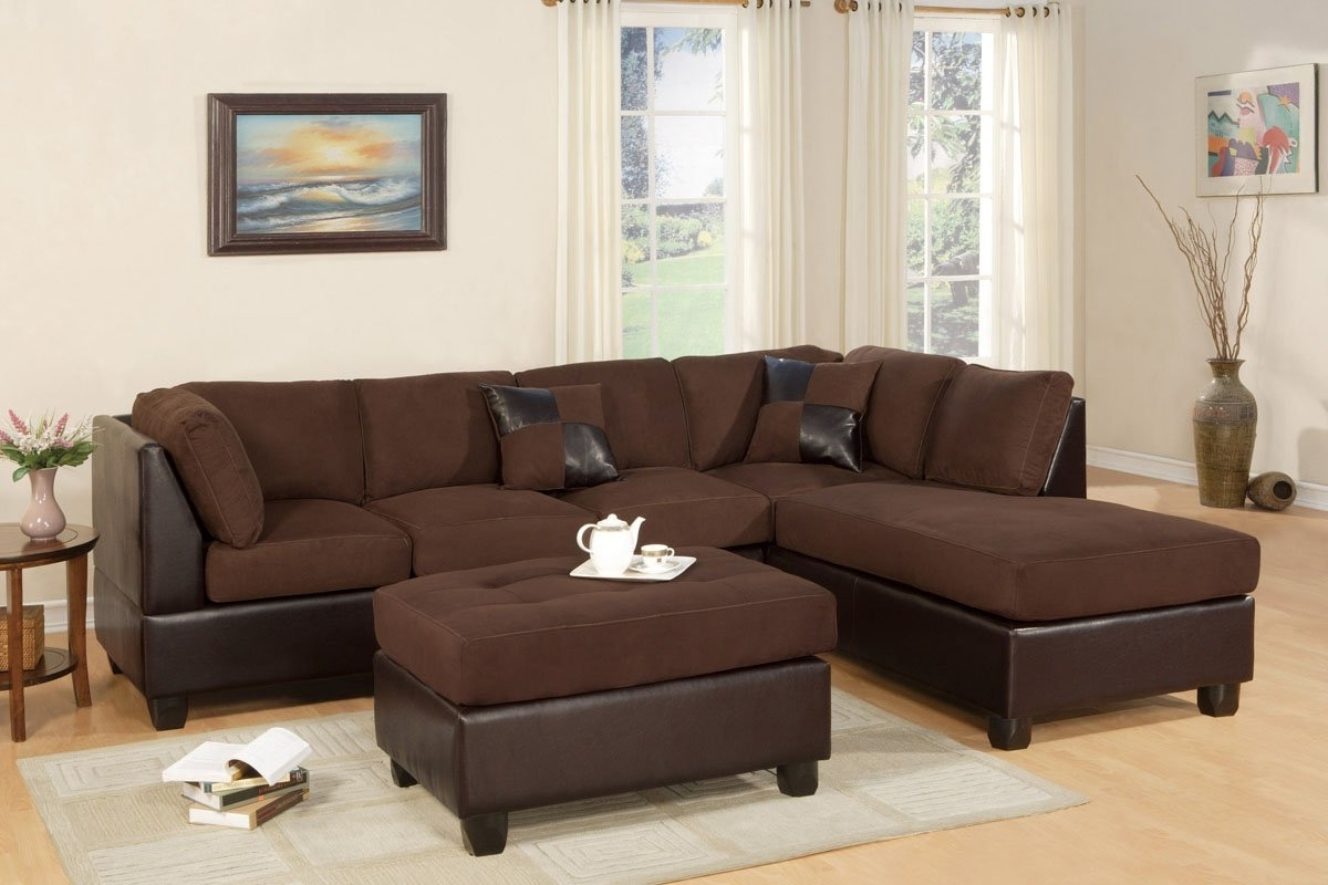 Most Recent Chocolate Brown Sectional Sofas Regarding Amazon: Bobkona 3 Seat Sofa Sectional W/ Ottoman (Chocolate (View 13 of 15)
