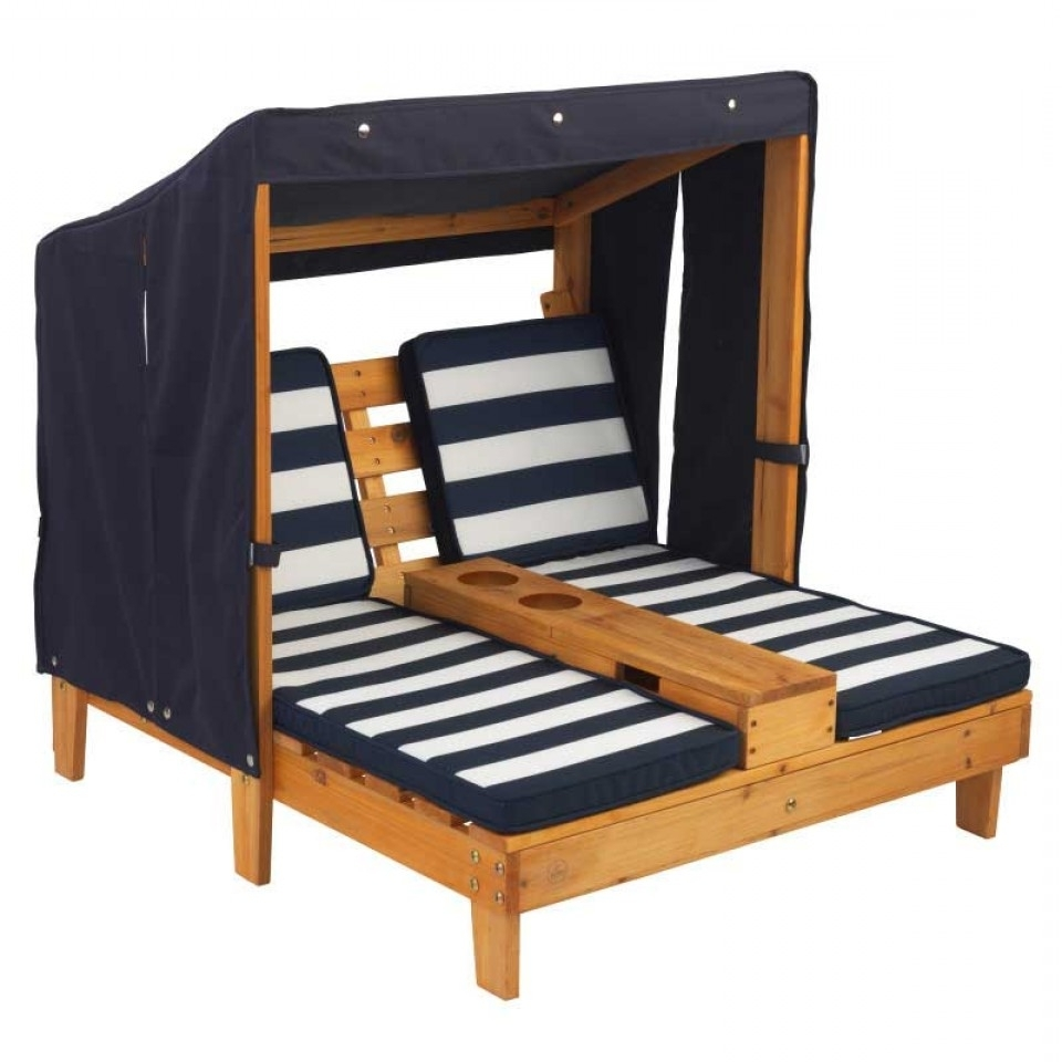 Most Recent Double Chaise Lounge With Cup Holders – Honey & Navy Within Kidkraft Double Chaise Lounges (View 12 of 15)