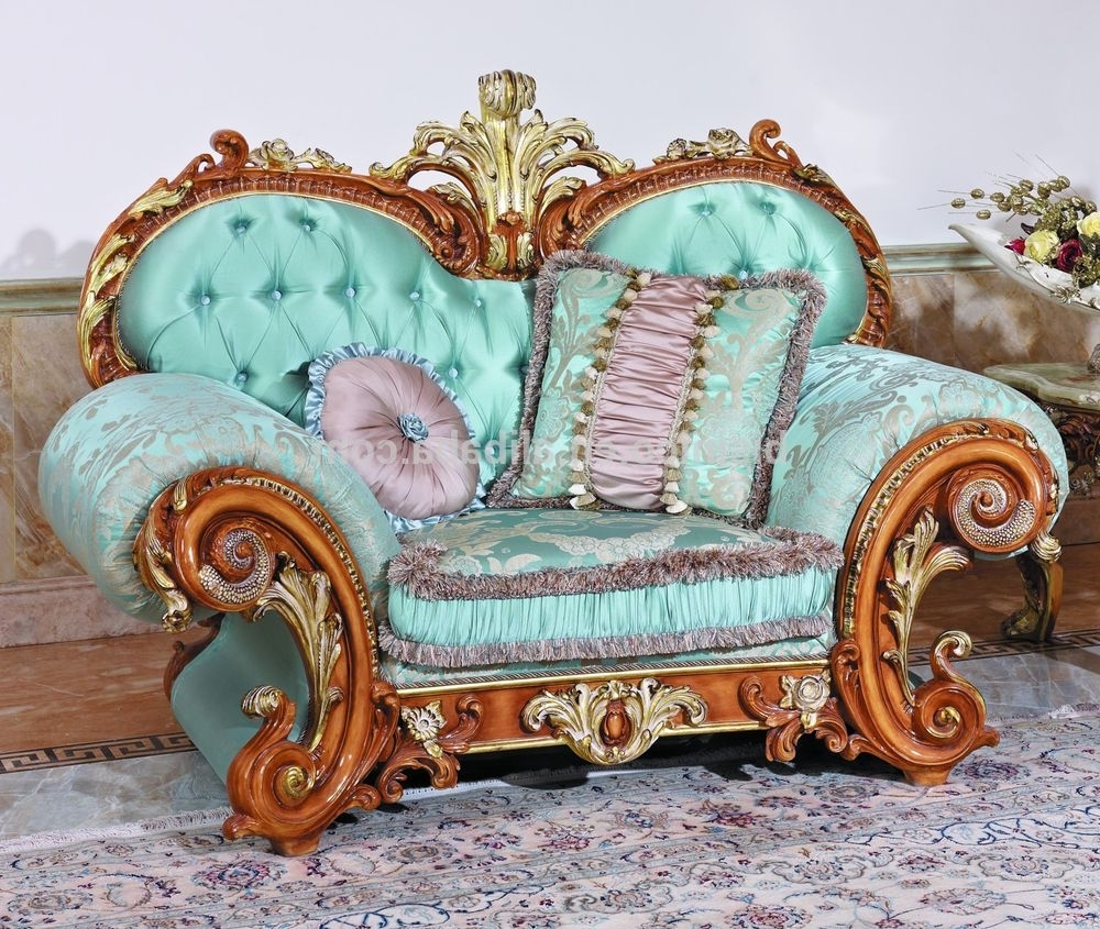 Most Recent Fancy Sofas With Regard To Luxury French Baroque Style Living Room Blue Sofa Set/fancy Palace (View 10 of 15)