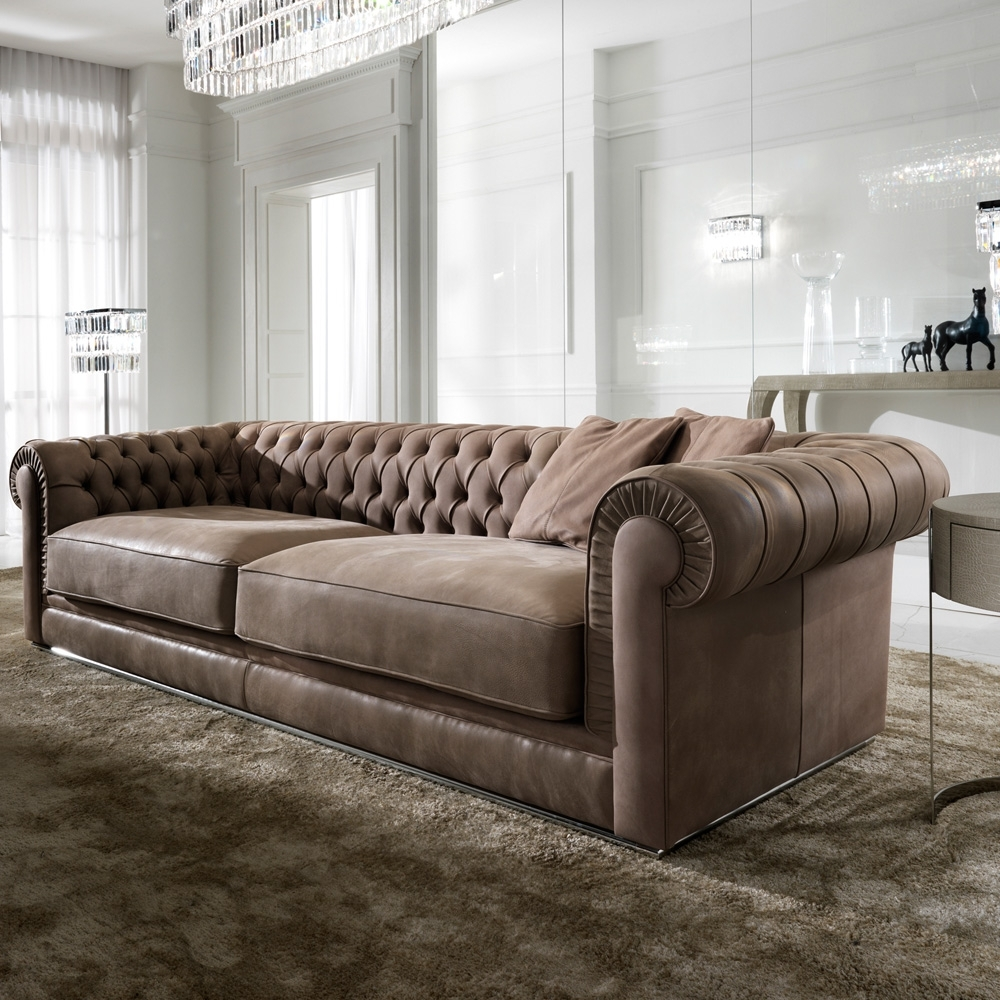 Most Recent High End Italian Nubuck Leather Button Upholstered Sofa Throughout High End Sofas (View 4 of 15)