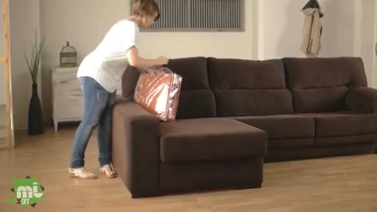 Most Recent How To Put A Stretch Chaise Sofa Cover – Youtube In Chaise Covers (View 11 of 15)