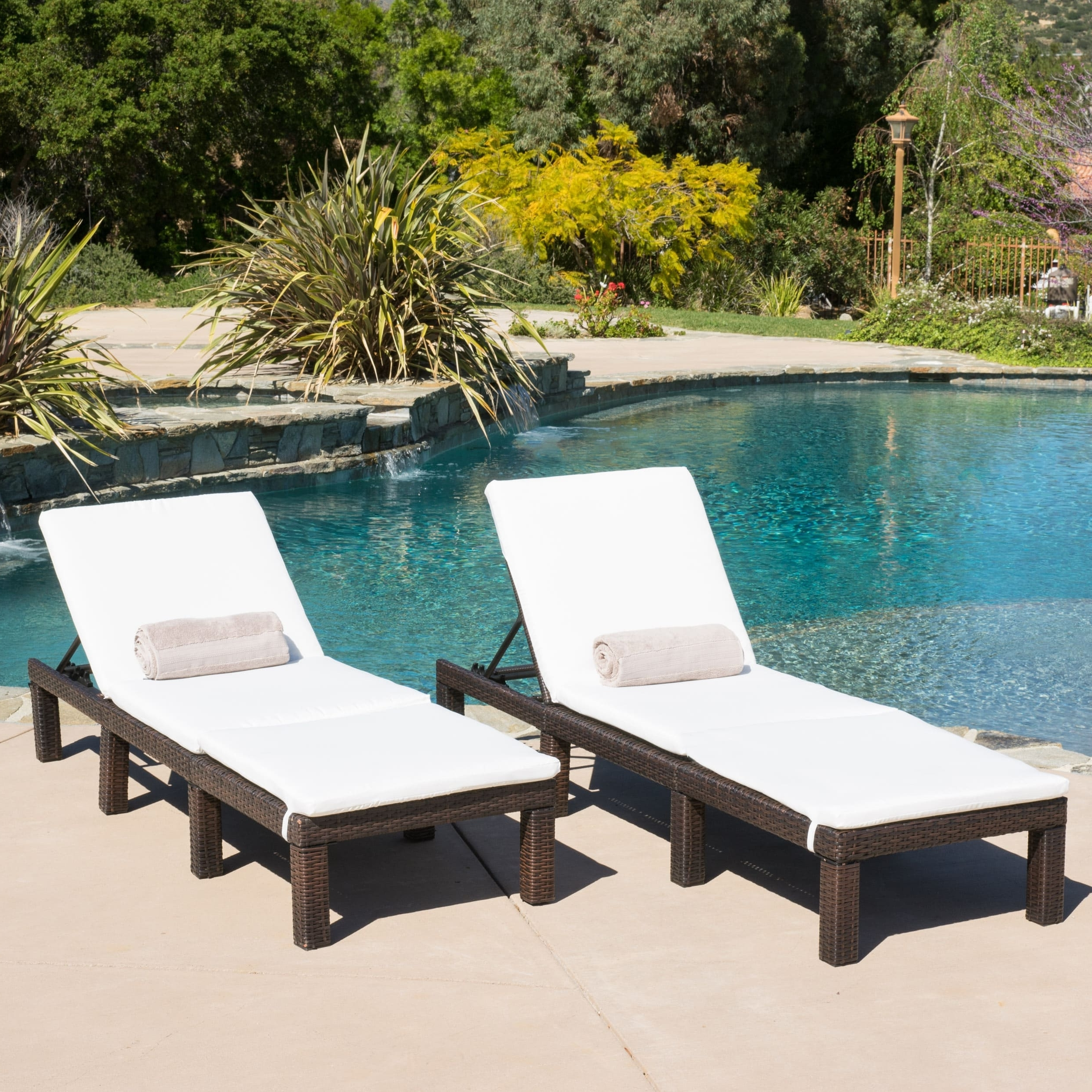 Most Recent Jamaica Outdoor Chaise Lounge With Cushion (Set Of 2) With Regard To Outdoor Chaise Lounges (View 8 of 15)