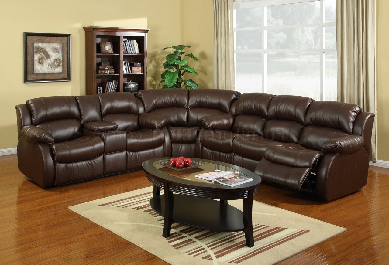 Most Recent Leather Motion Sectional Sofas Inside 8002 Reclining Sectional Sofa In Brown Bonded Leather (View 9 of 15)