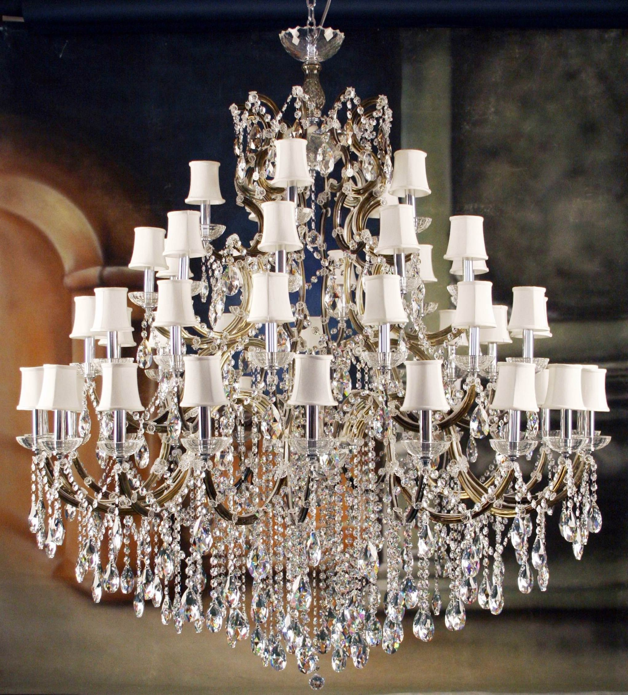 Most Recent Light : Fancy Living Room High Quality Crystal Chandeliers For Home Pertaining To Crystal Chandeliers With Shades (View 13 of 15)