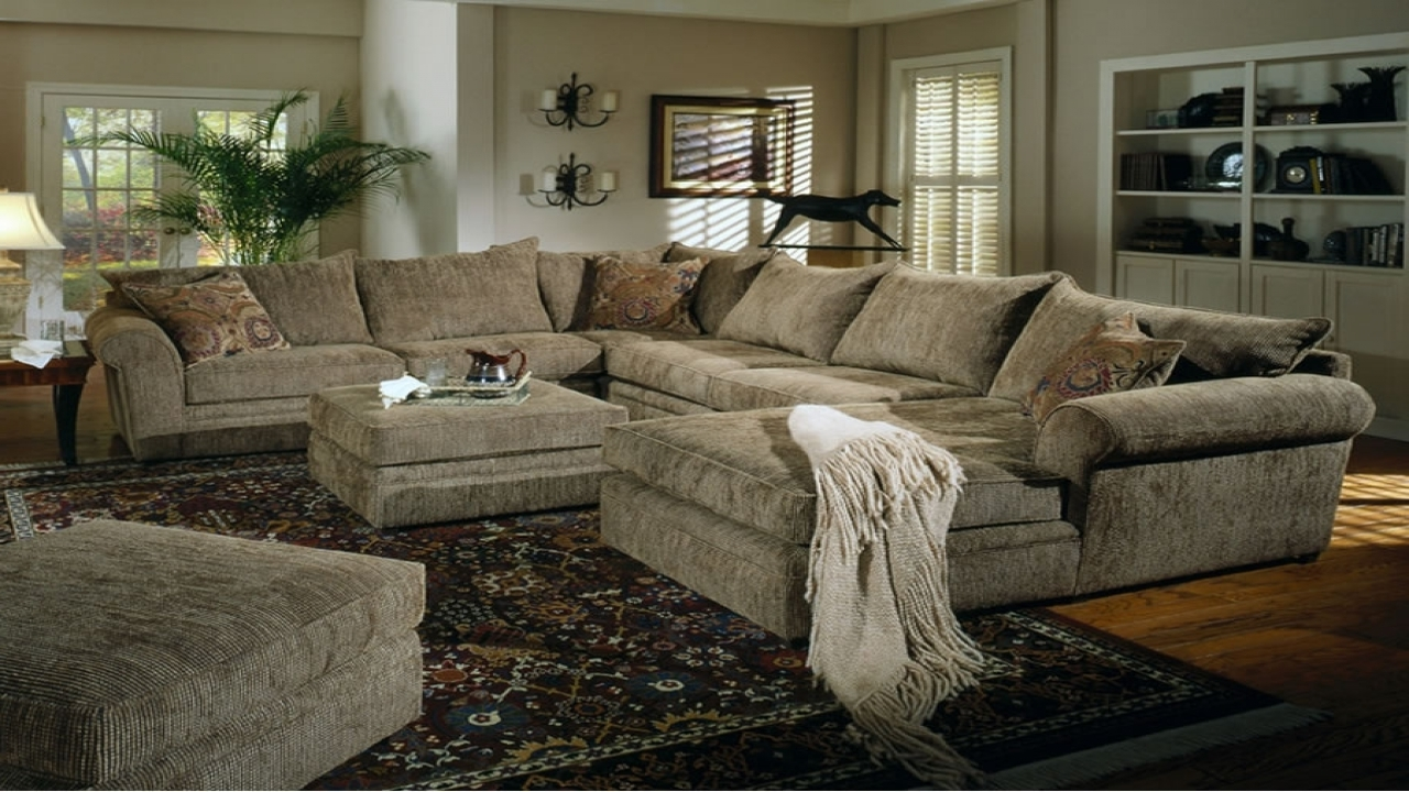 Most Recent Oversized Sectional Sofas With Chaise Regarding Simple Chenille Sectional Sofa With Chaise 77 For Your (View 7 of 15)