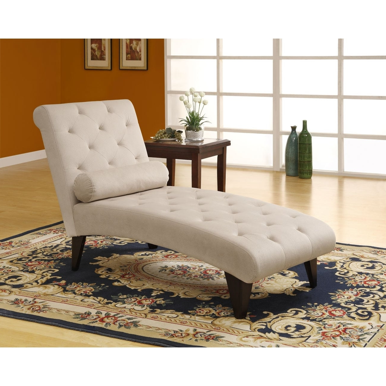 Most Recent Overstock Chaises With Regard To Taupe Velvet Fabric Chaise Lounger – Free Shipping Today (View 6 of 15)